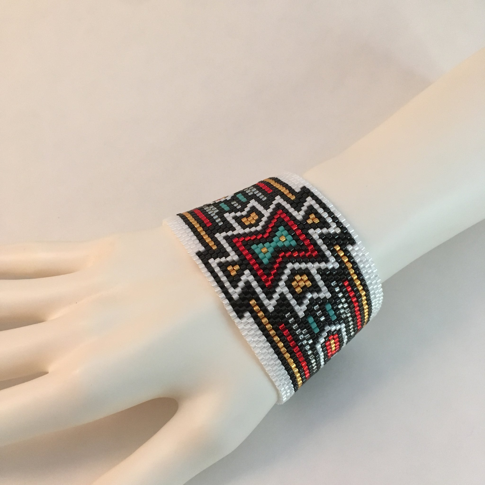 Southwest Ralph Lauren style laid back peyote hand made beaded bracelet original custom design boho feel