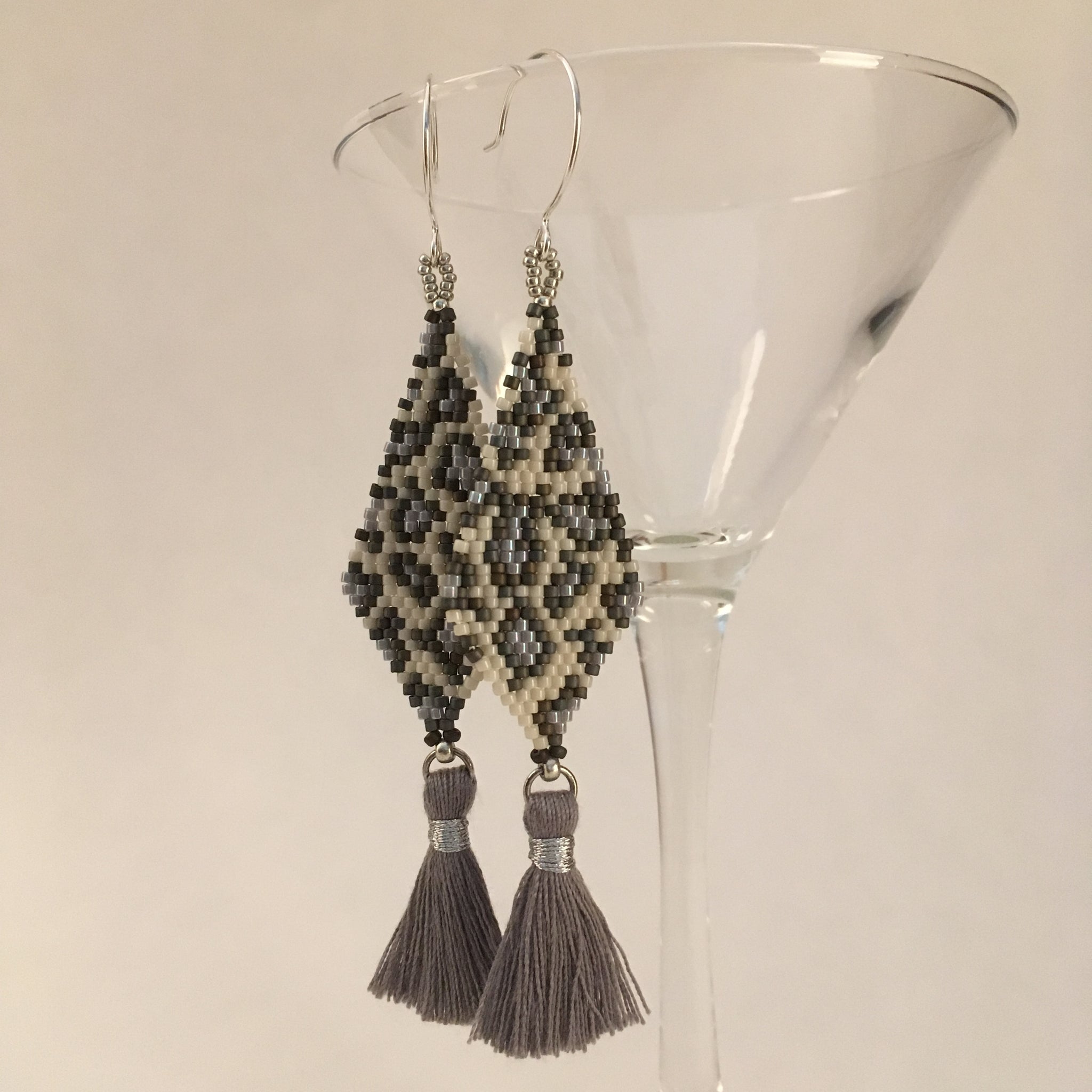 Beaded Snow Leopard Long Tassel Earrings