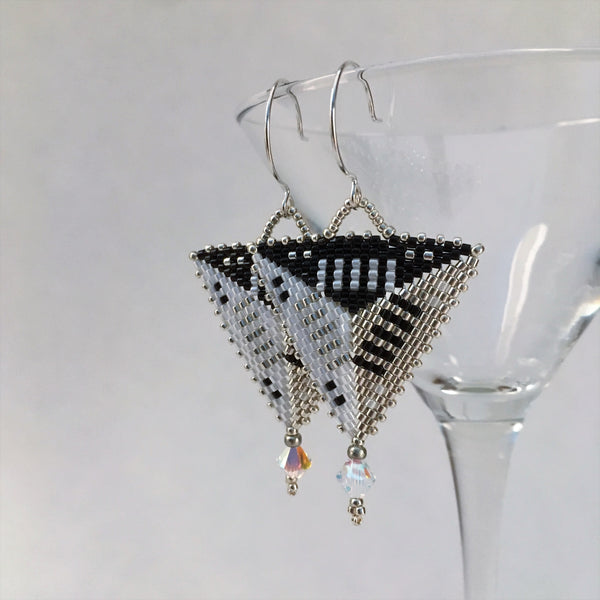 Modern handmade beaded earrings original design contemporry statement silver black white triangle Swarovski crystals Sterling silver