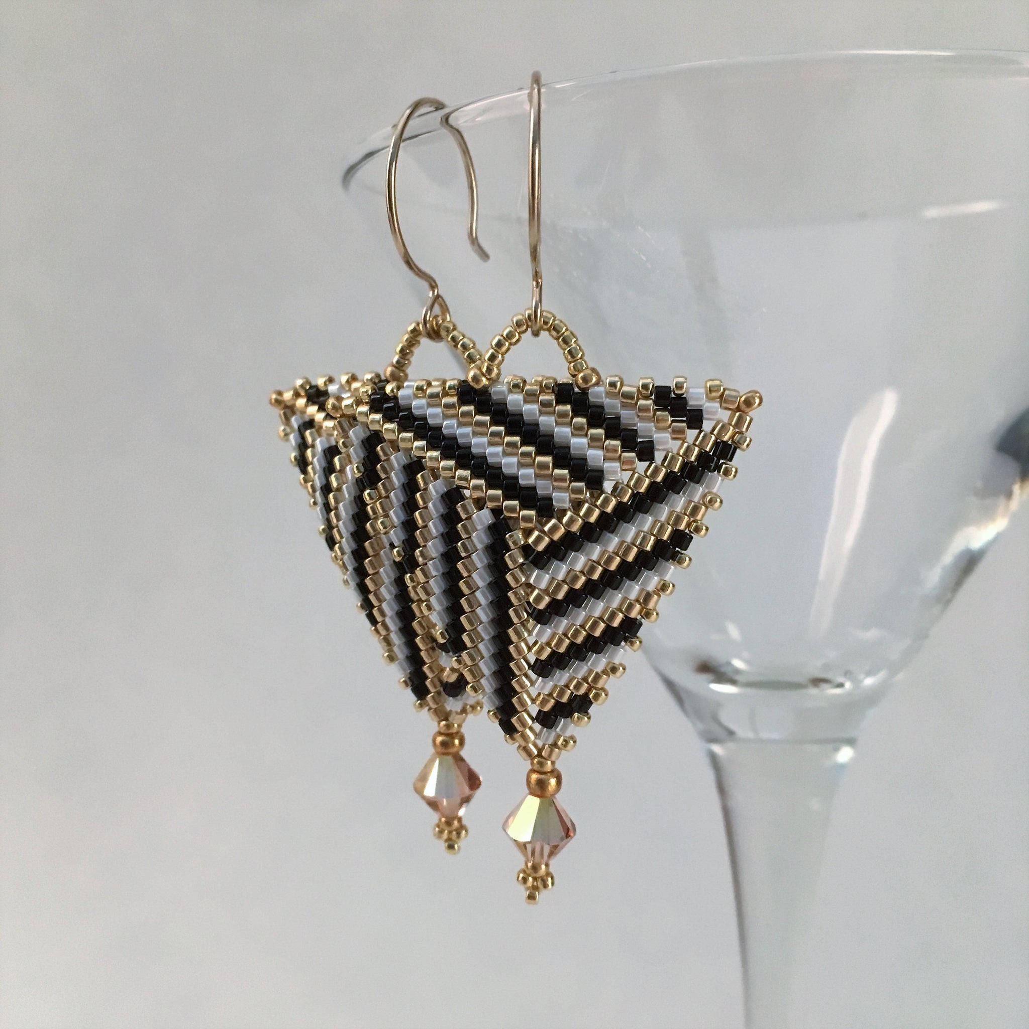 Mondern handmade beaded earrings black gold white  Swarovski crystals 14K gold filled