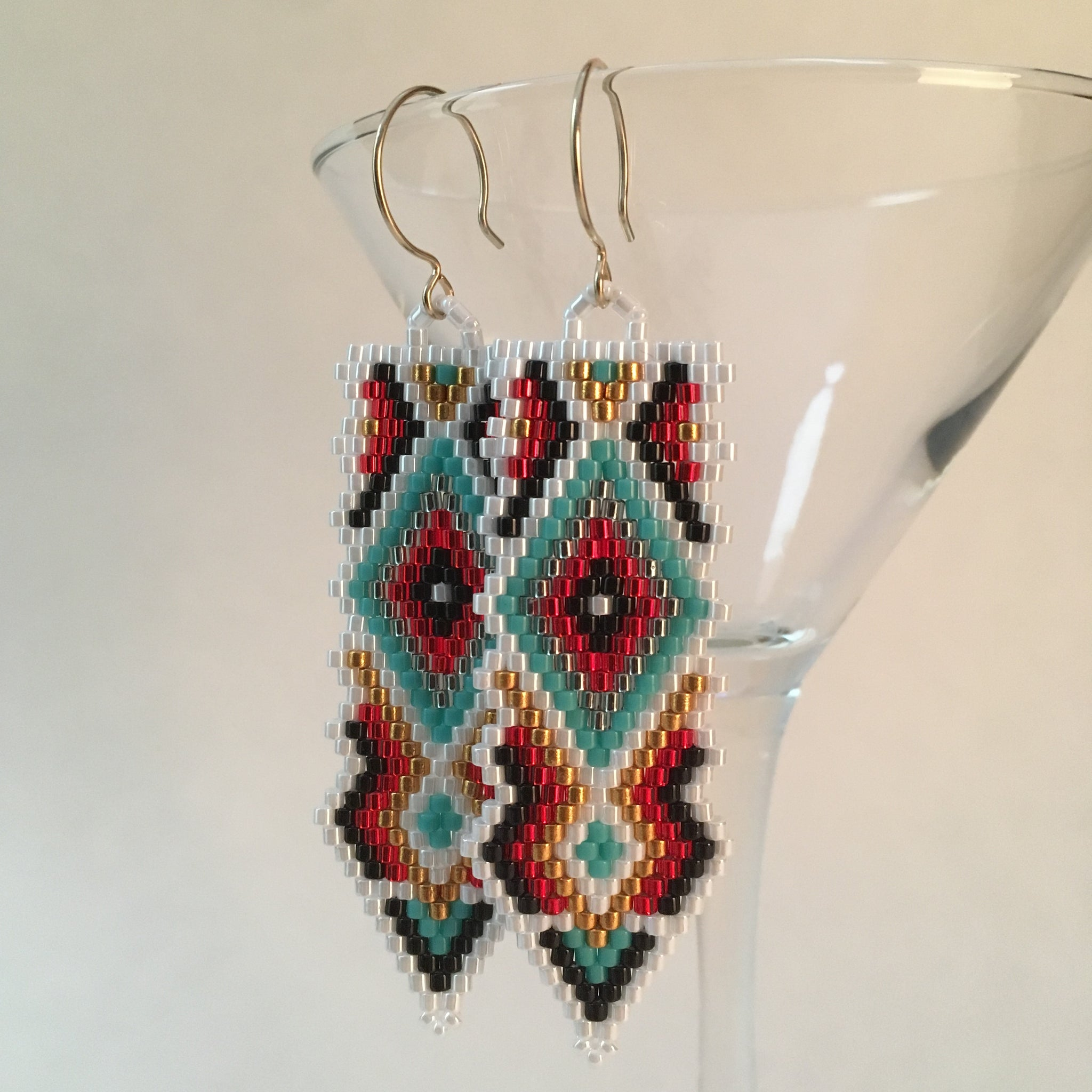 Southwest Style Beaded hand made White Turquoise long statement earrings boho Sundance style Beaded By The Beach