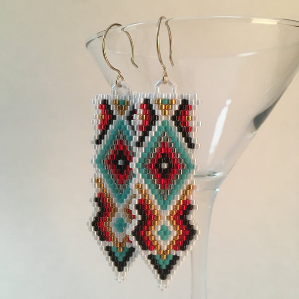 Southwest Native Style Beaded Long Earrings with Turquoise and Gold