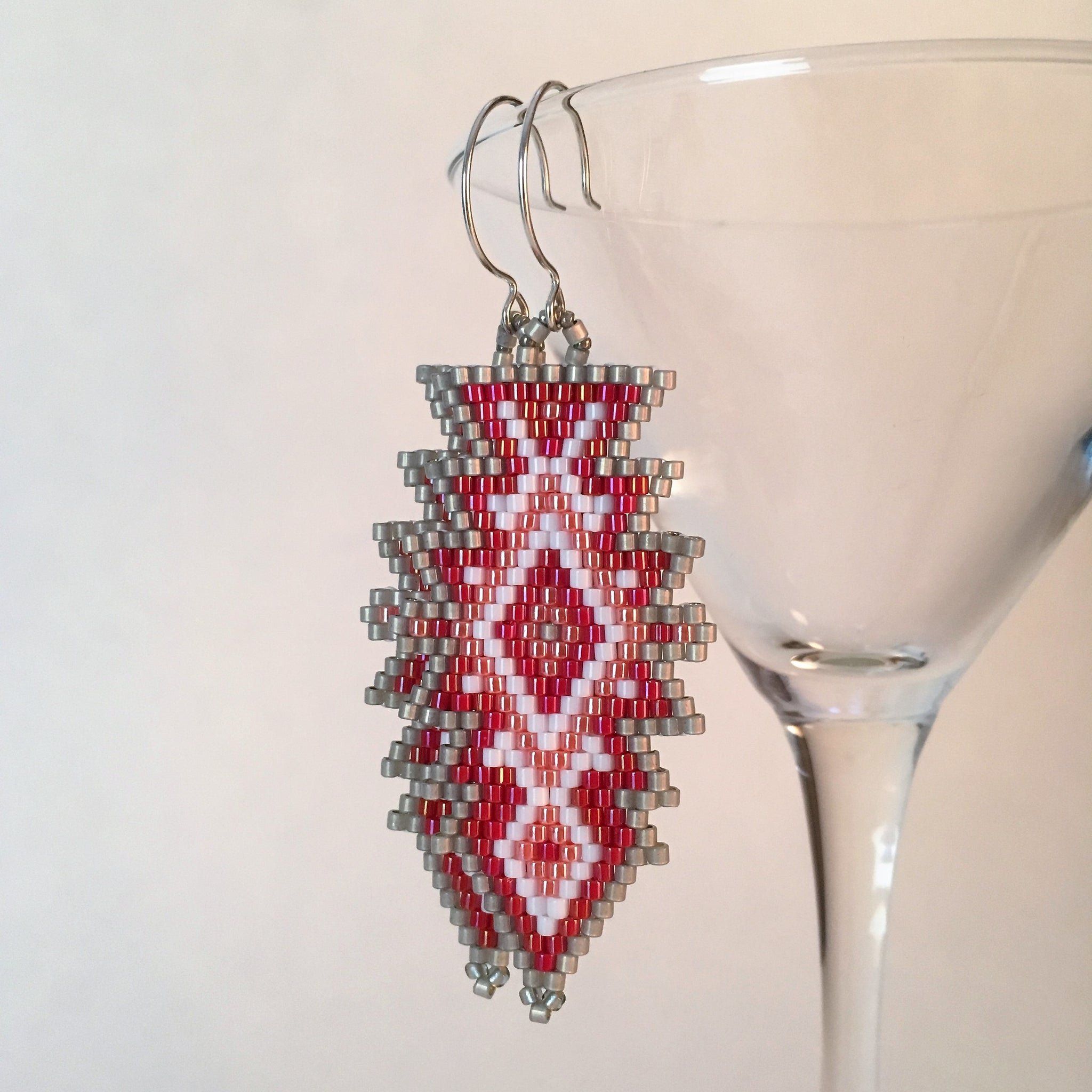 Southwest Style Earrings in Grey Red White and Peach