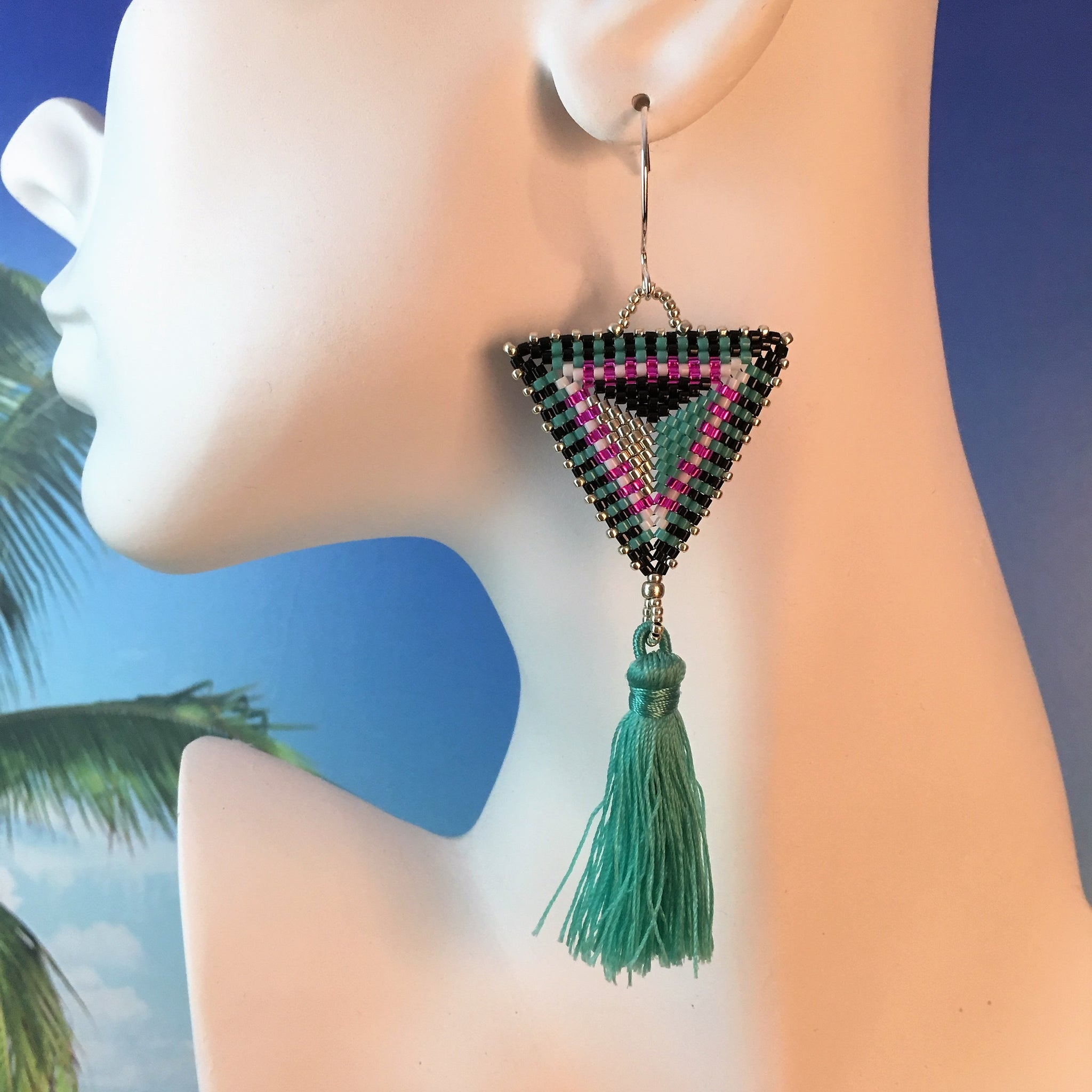 Bold Triangle beaded tassel earrings handmade turquoise teal modern unique custom Beaded By The Beach
