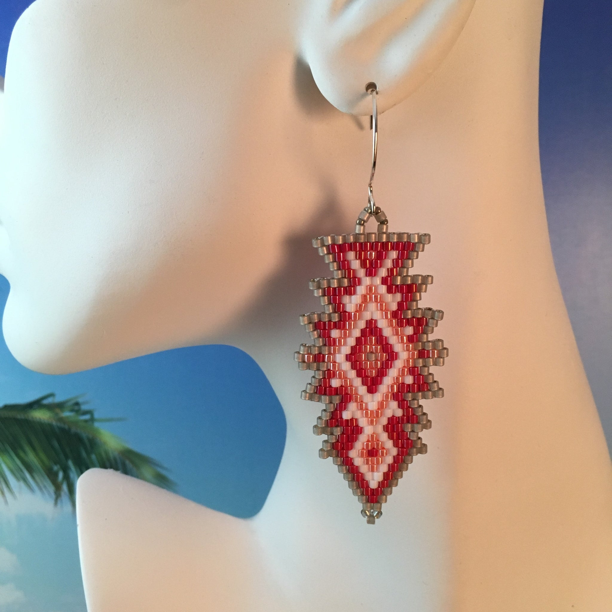 Coral Peach Red Grey White Southwest Sundance Style handmade beaded earrings sterling silver custom boho Beaded By The Beach