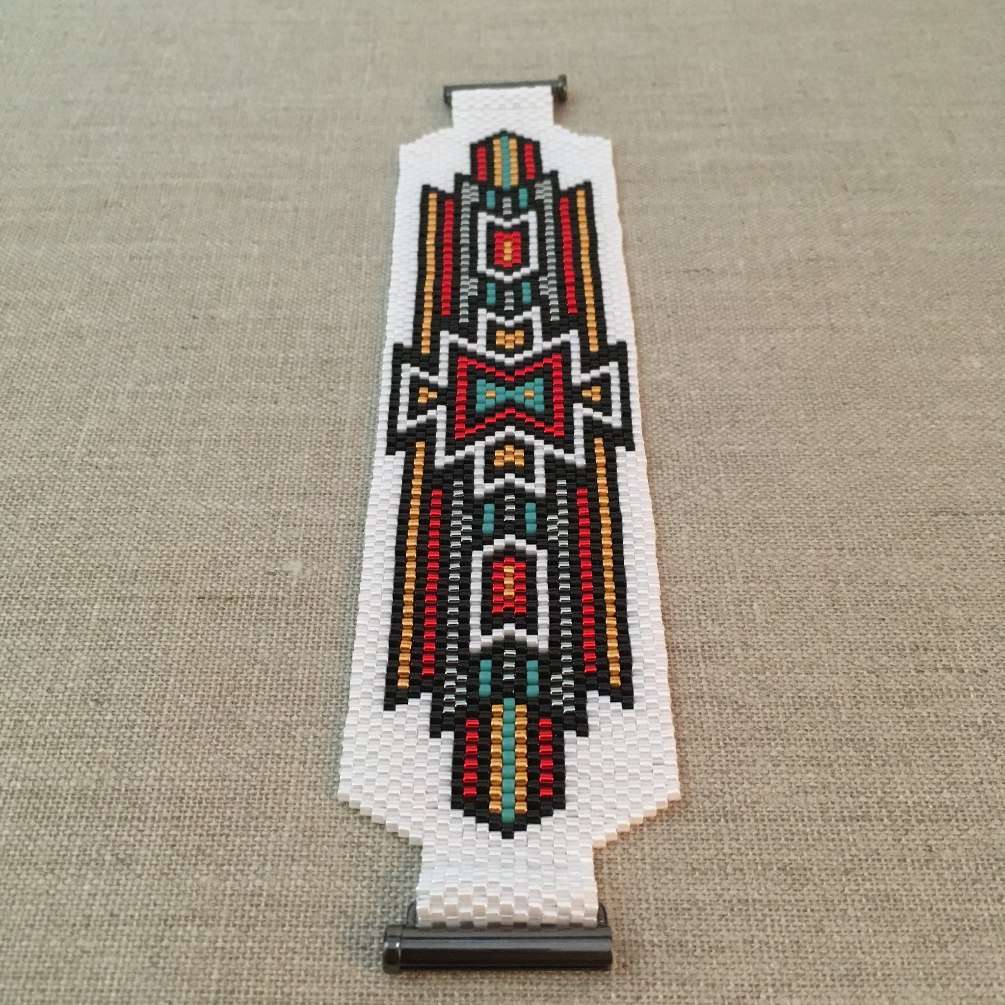 Southwest Style in White Black Red Gold and Turquoise