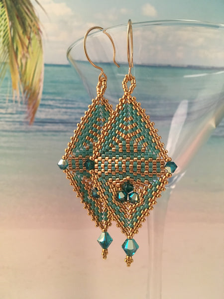 Handmade beaded elegant earrings Swarovski crystals turquoise and gold modern original design contemporary statement