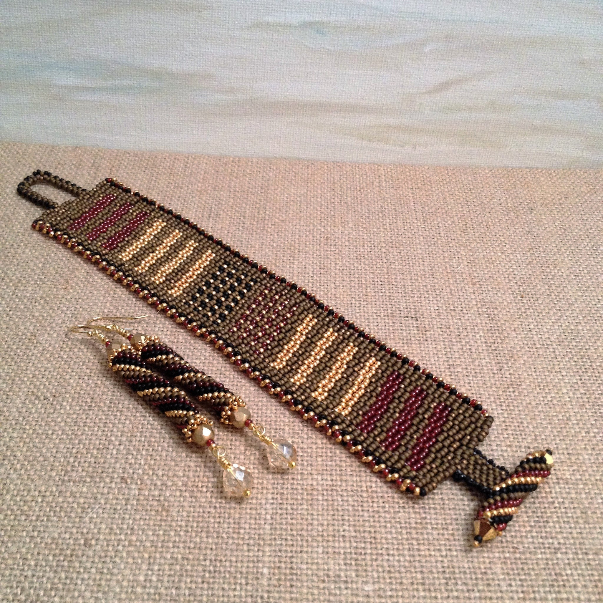 Crimson, Gold, Black  & Bronze Peyote Bracelet & Earring Set