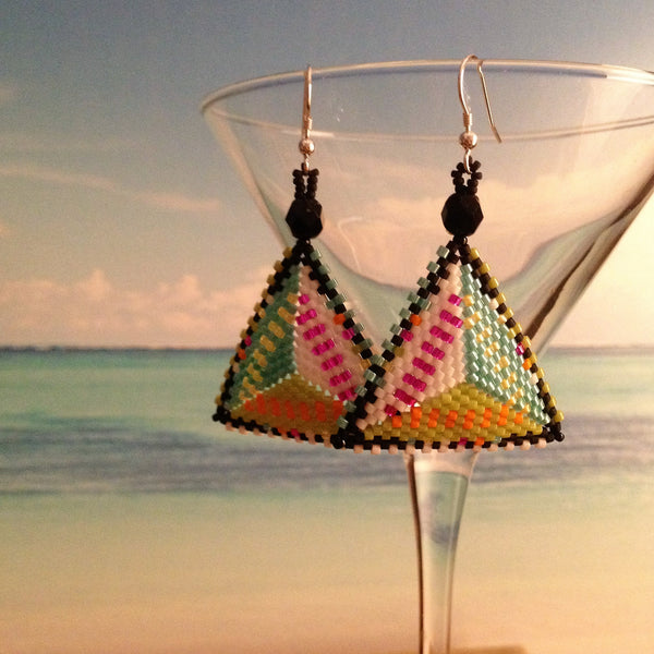 handmade beaded modern earrings original design bold lightweight beaded by the beach