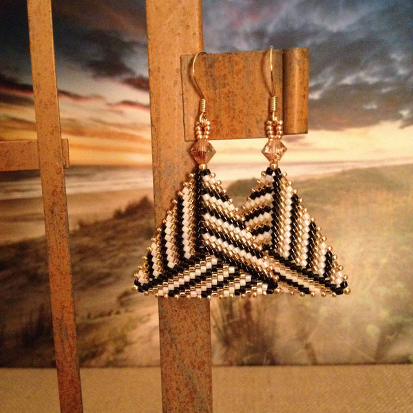 Handmaded beaded earrings triangle modern gold black white Swarovski crystals contemporary