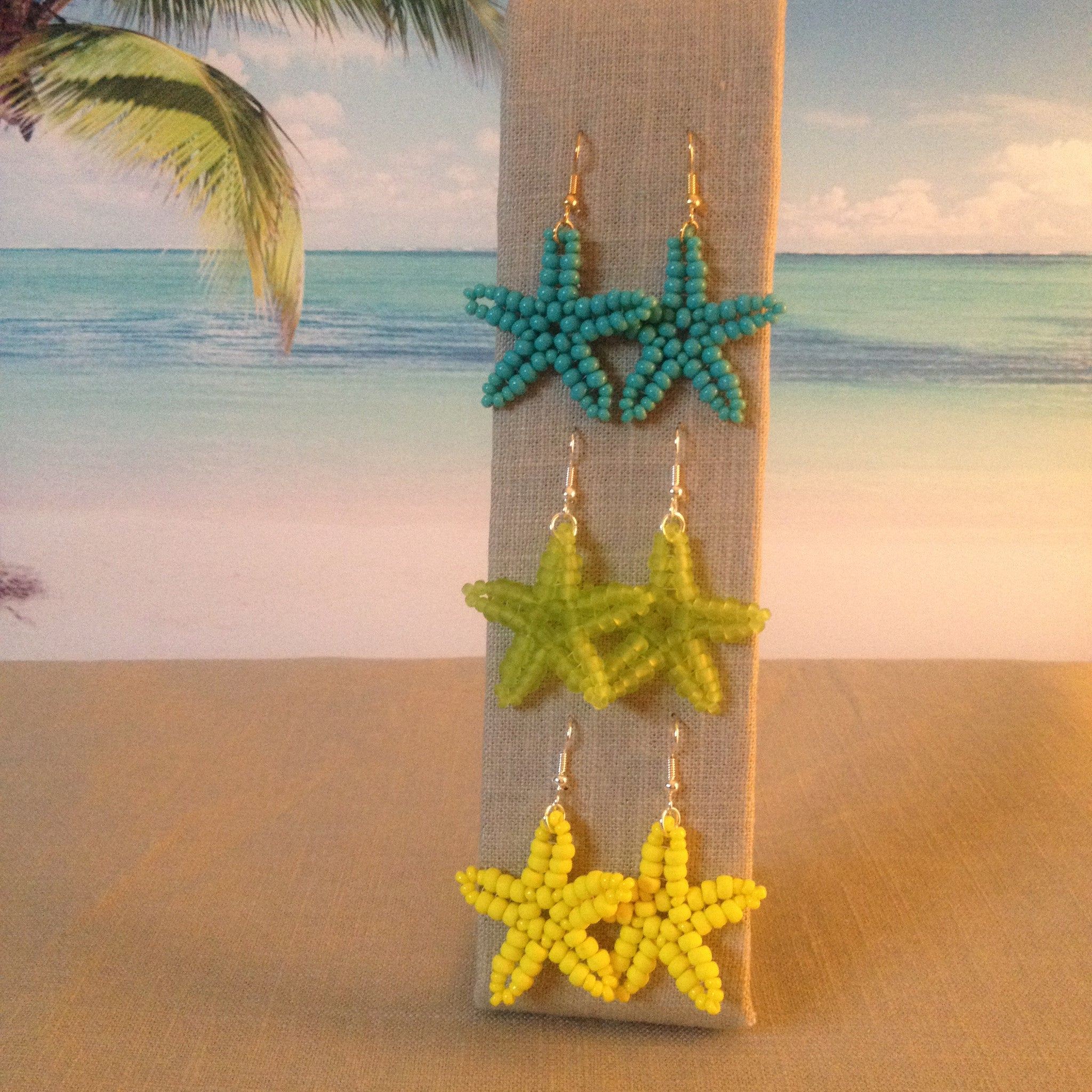 Starfish Beaded Turquoise Lime Sunny Yellow Earrings handmade