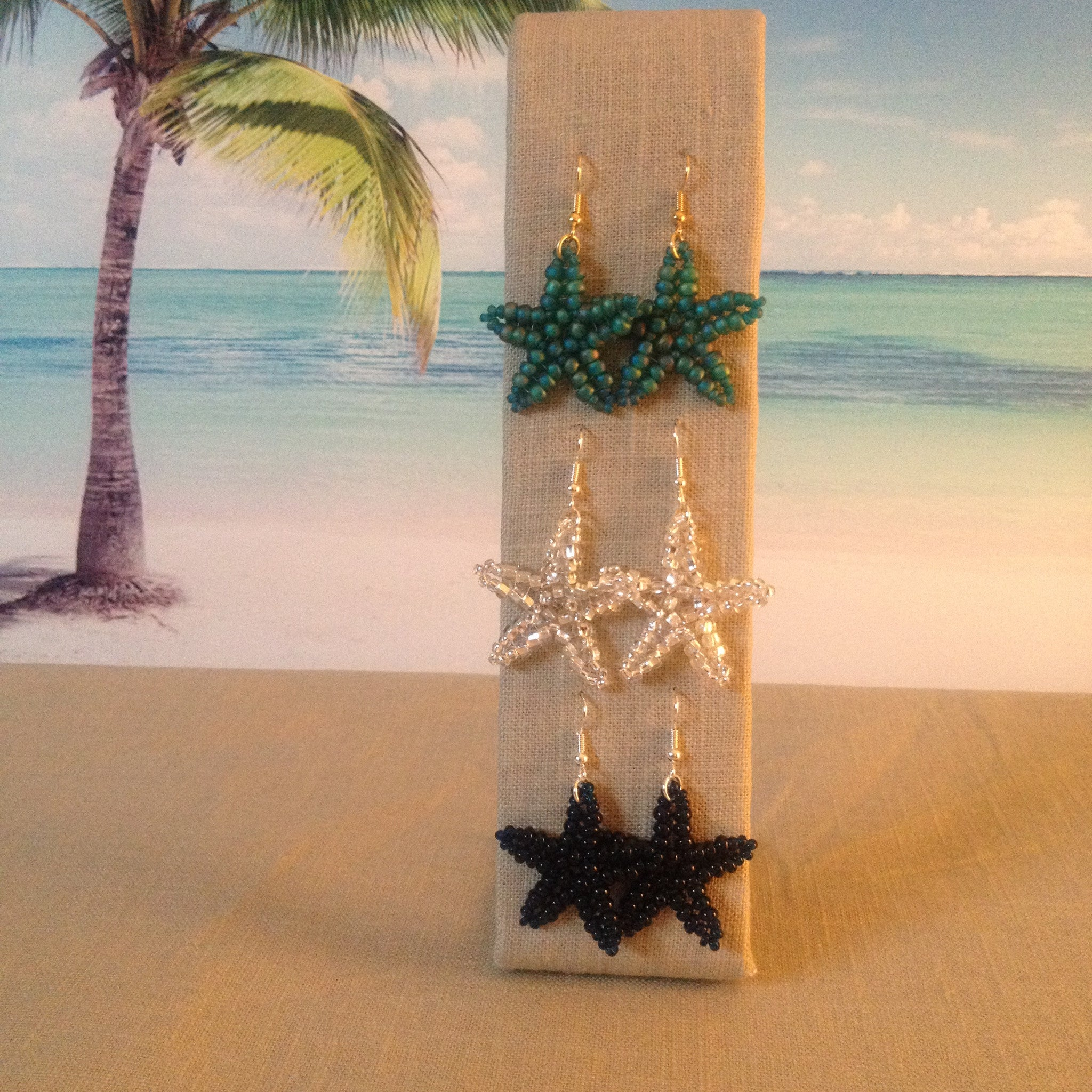 Starfish beaded handmade earrings in green crystal navy resort cruise wear fun beachy style