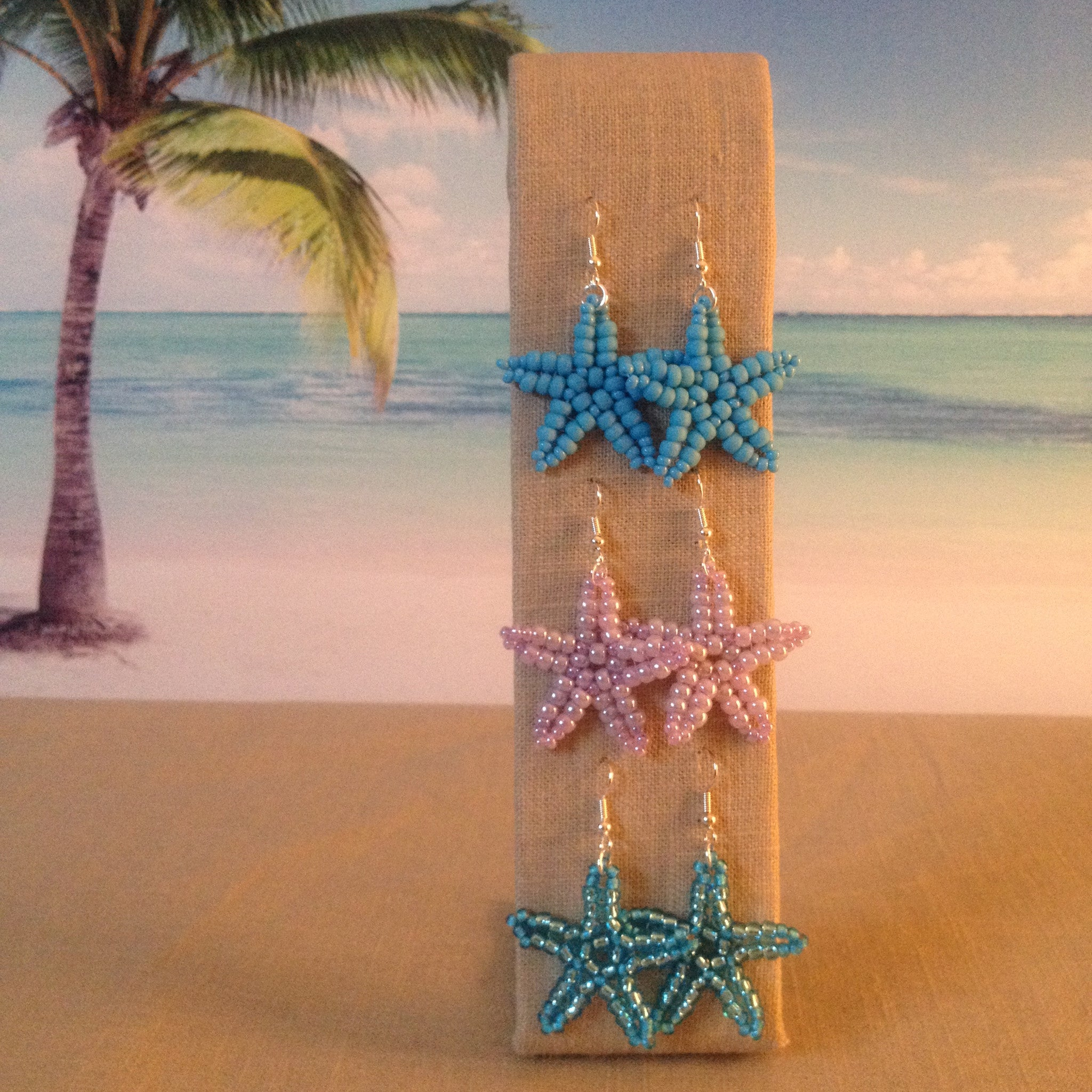 Starfish Earrings Beaded handmade Turquoise Lilac Ocean Blue