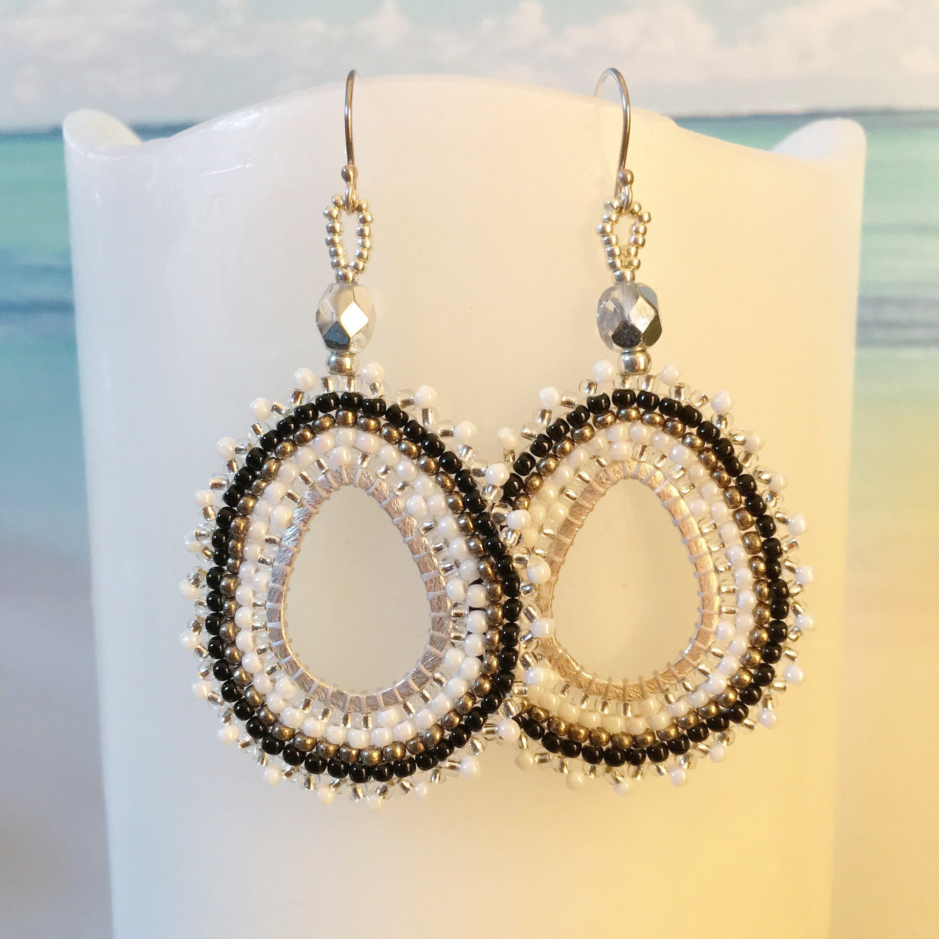 Black silver white handmade beaded oval teardrop earrings long lightweight