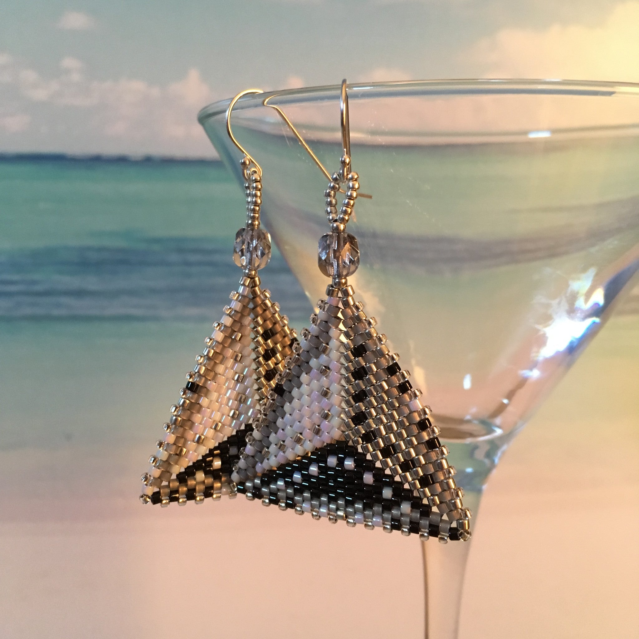 Modern handmaded beaded triangle earrings contemporary sterling silver