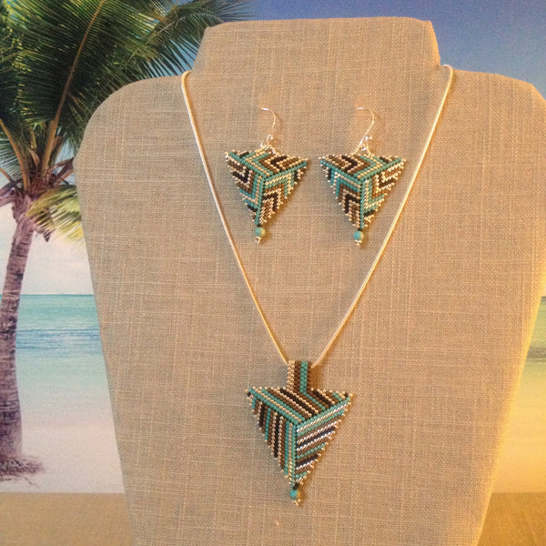 Turquoise, Bronze, & Silver Contemporary Peyote Triangle Earrings & Pendant Set