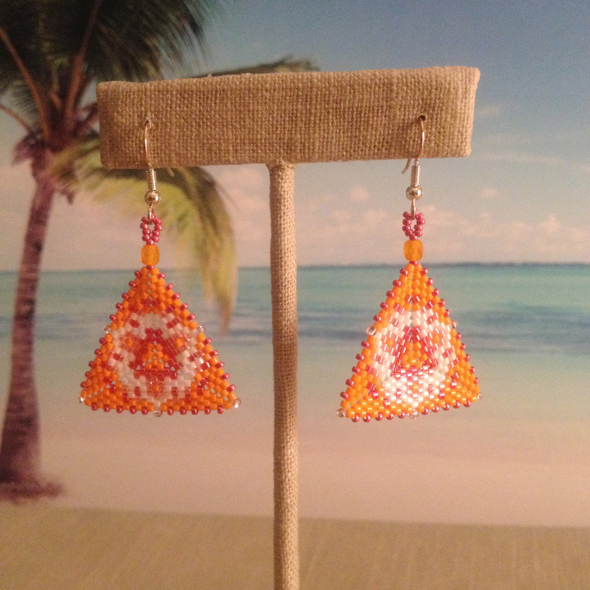 Orange White Coral Salmon Pink Peyote Window Bracelet and Triangle Earrings Set