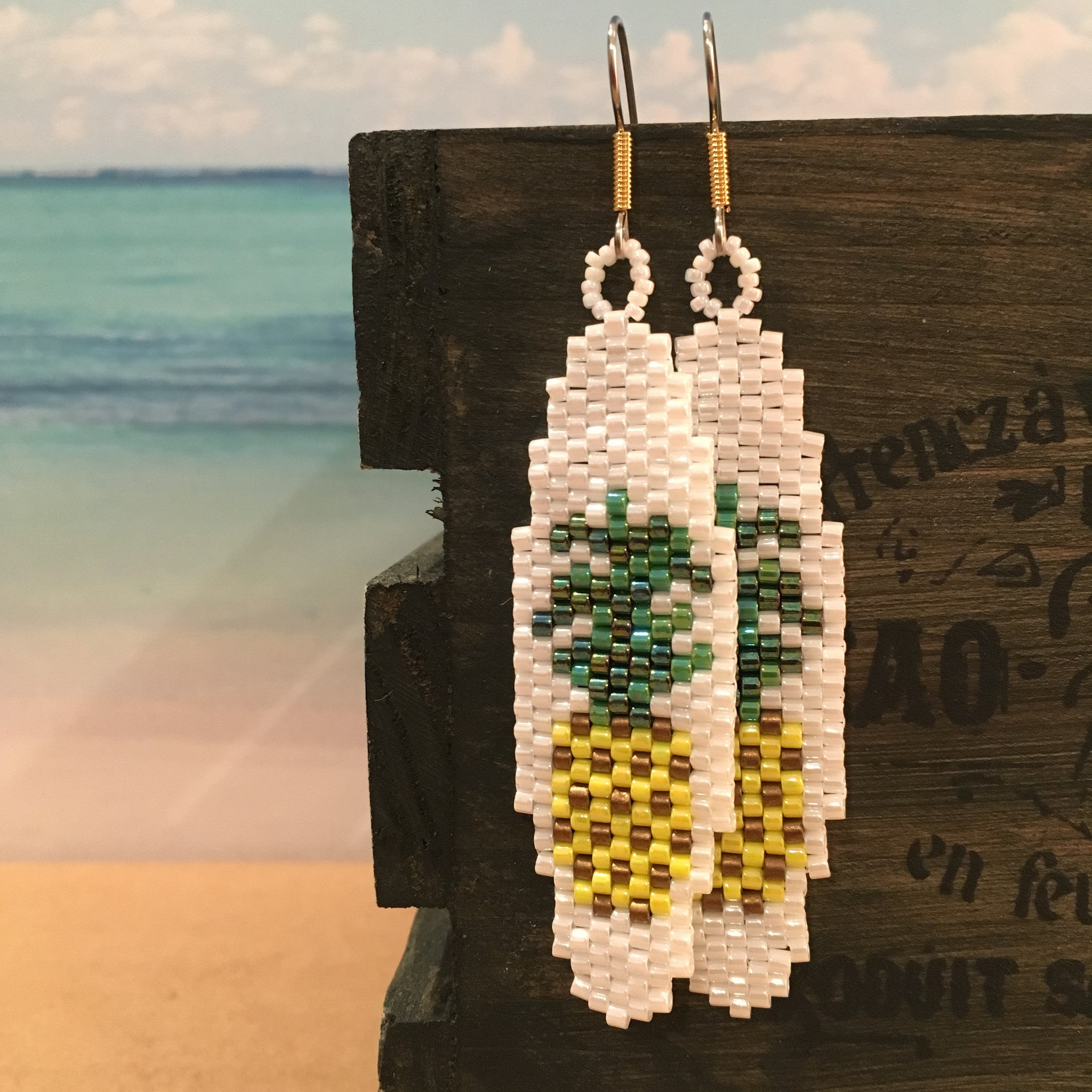 Surfboard bead pineapple handmade earrings beachy Beaded By The Beach hospitality symbol fun laid back style