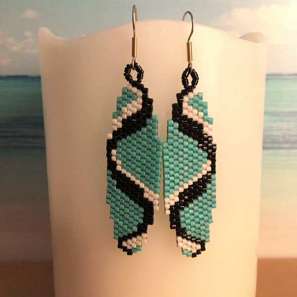 Sine Wave Sound Science Earrings handmade beaded turquoise black white Geek Beaded By The Beach Surf Ocean