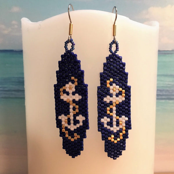 Anchor Nautical Navy handmade beaded earrings