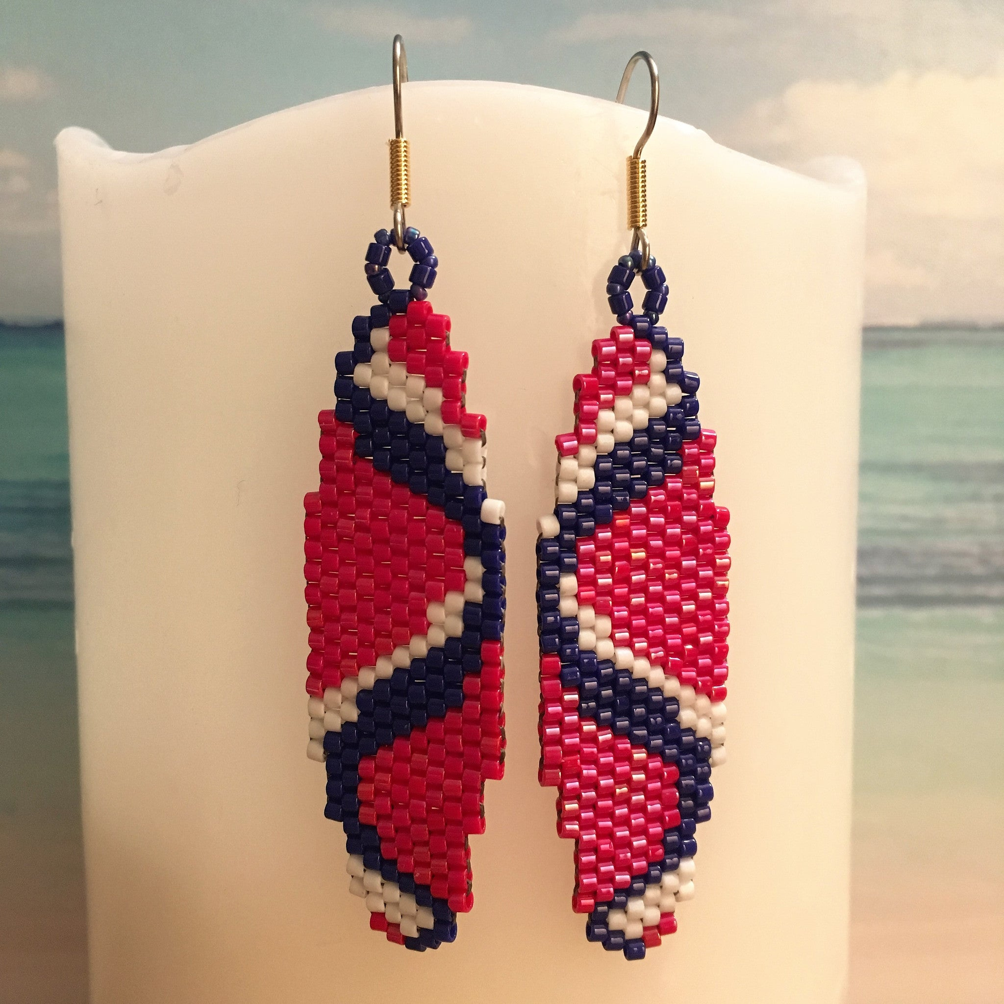 Sine Wave Sound Science Hand made beaded earrings Red White Blue Surfboard Beaded By The Beach Geek