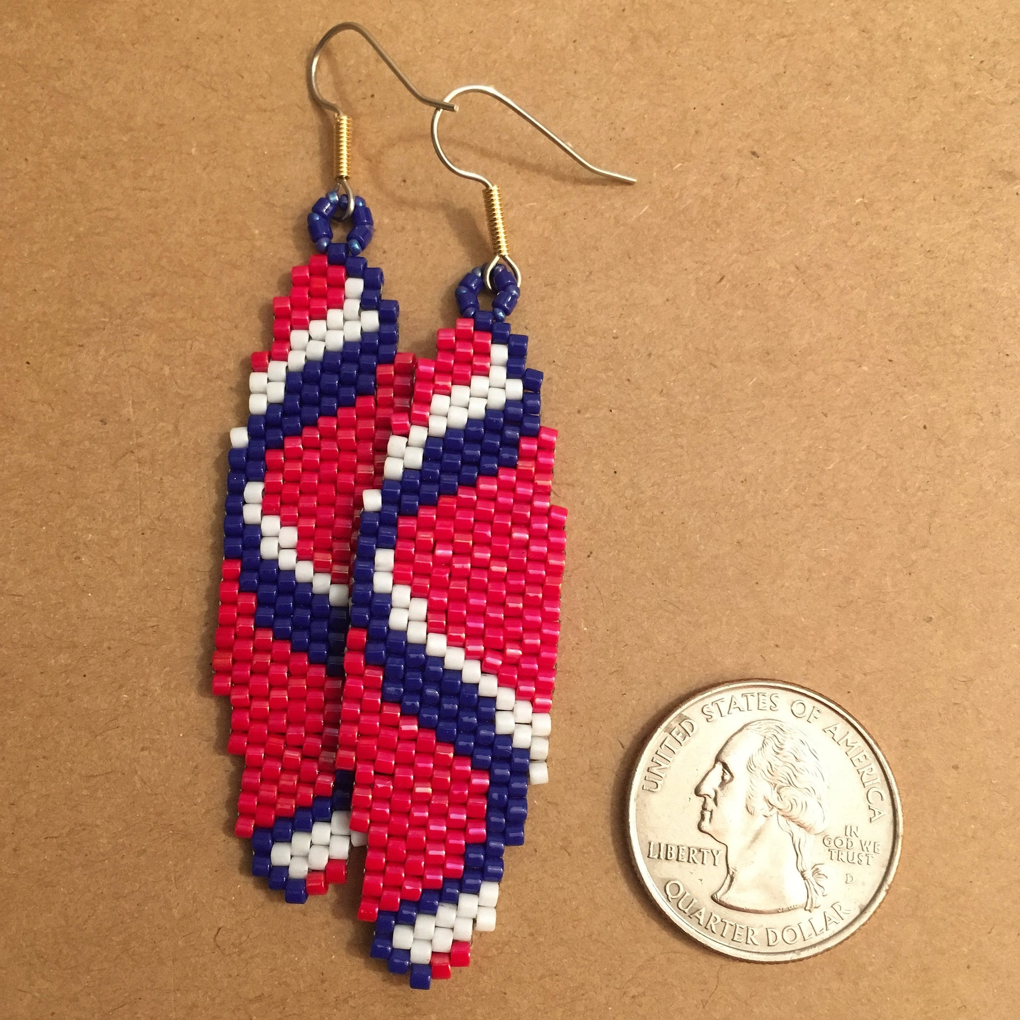 Sine Wave Earrings in Crimson Red, Blue and White