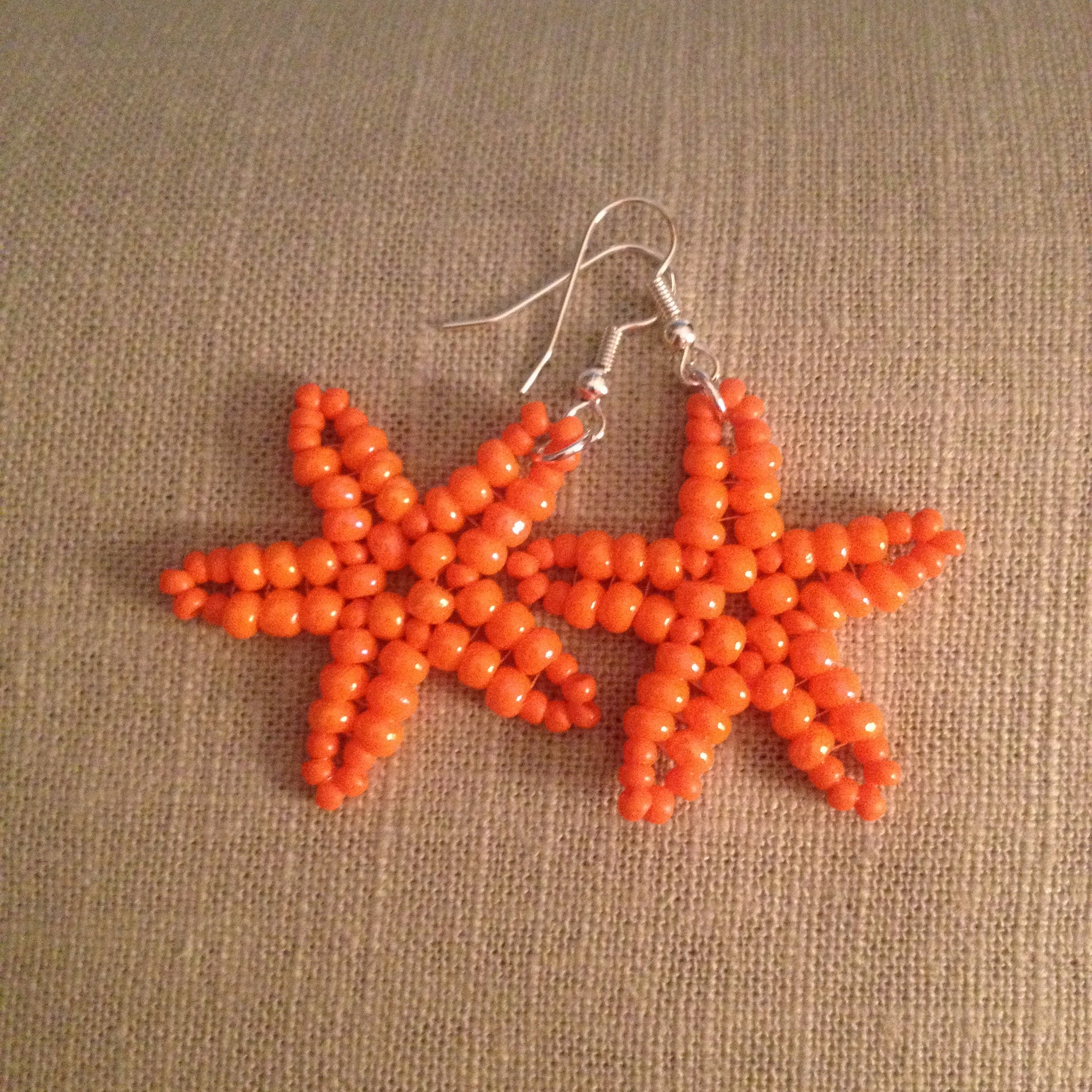 Starfish Tangerine Orange beaded earrings hand made beachy