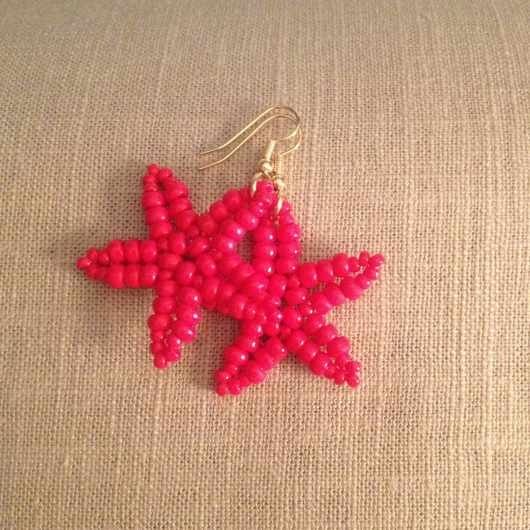 Starfish Beaded Earrings Cherry Red Beachy hand made fun resort cruise wear