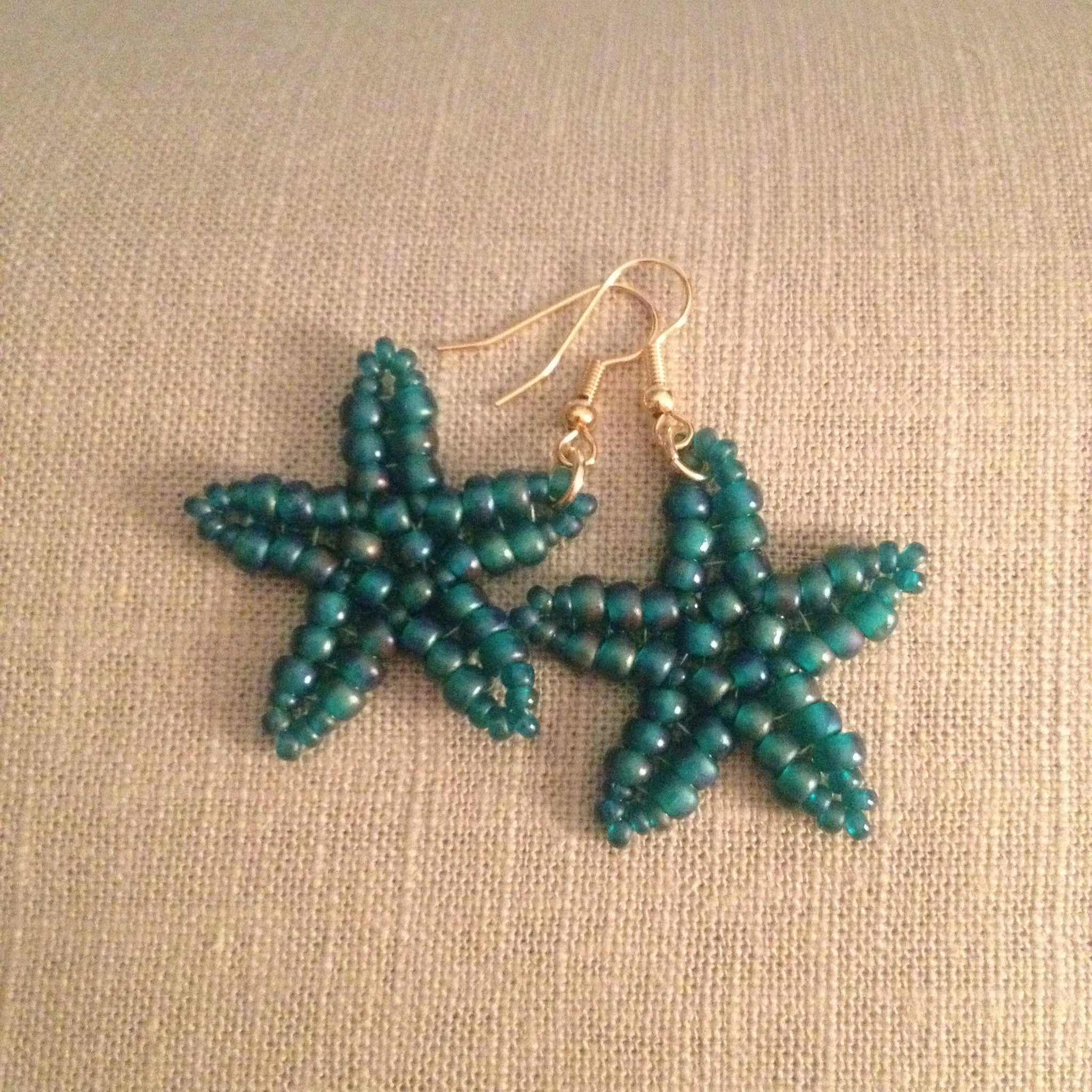 Starfish Handmade beaded earrings green beachy resort cruise wear beachy fun style