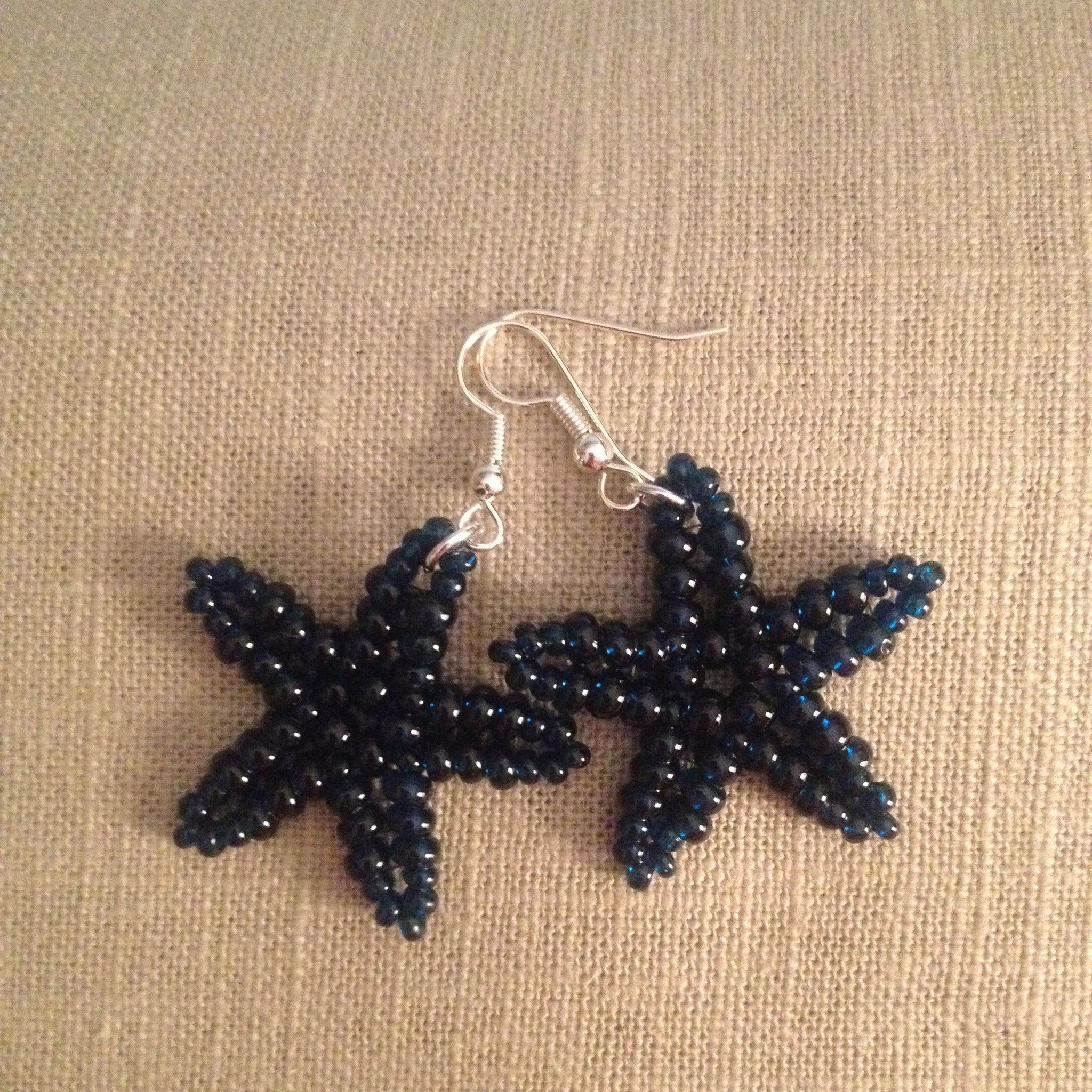 Starfish beaded handmade earriings in Navy blue resort cruise wear style beachy fun