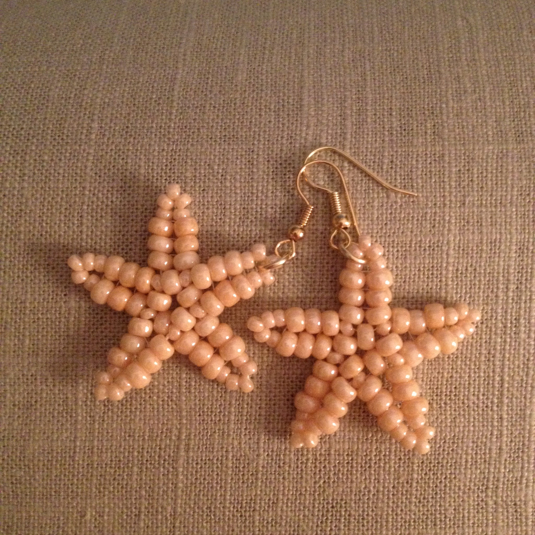 Starfish beaded handmade earrings in Creamy champagne beige resort cruise wear beachy fun