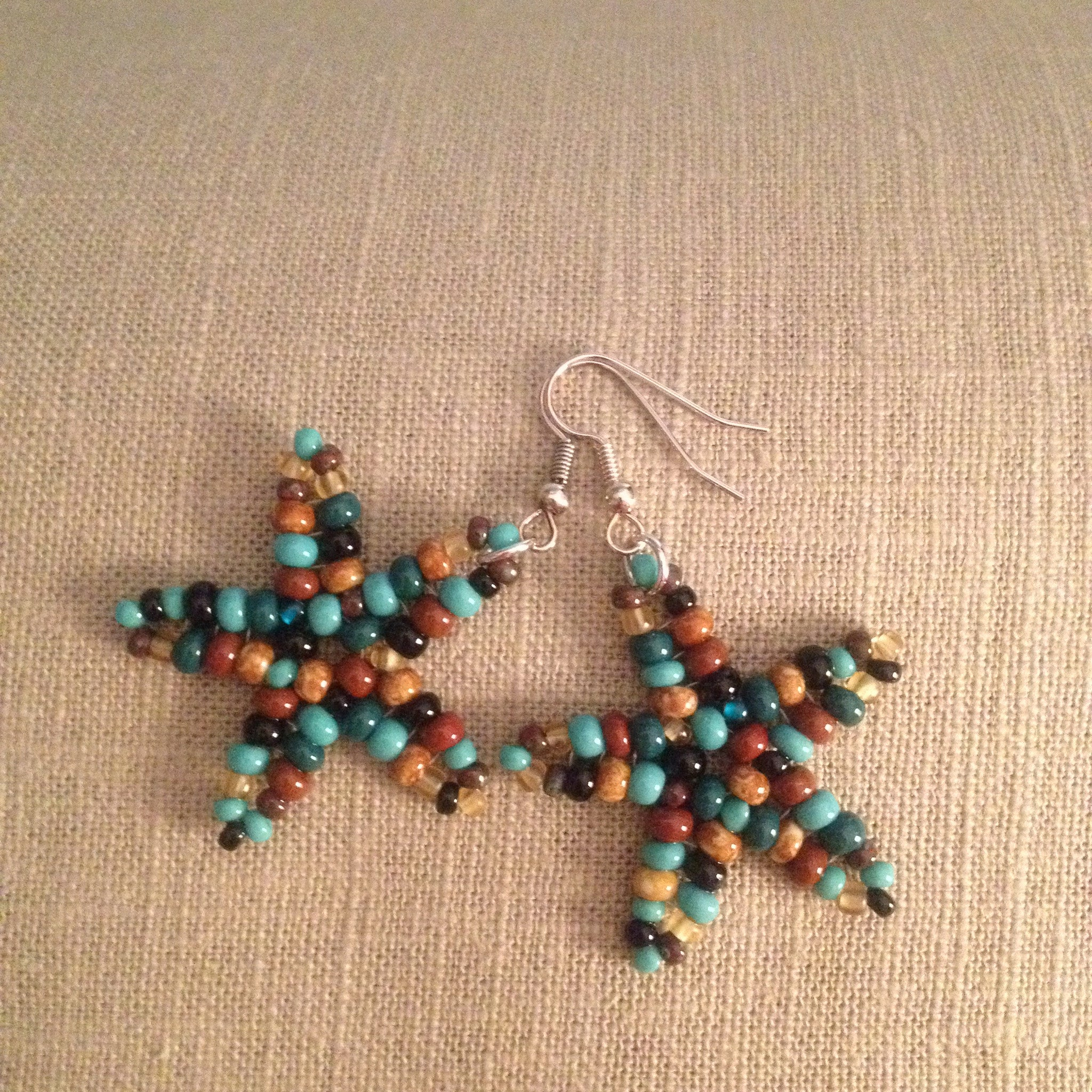 Starfish beaded earrings southwest multi colors resort cruise wear beachy fun style