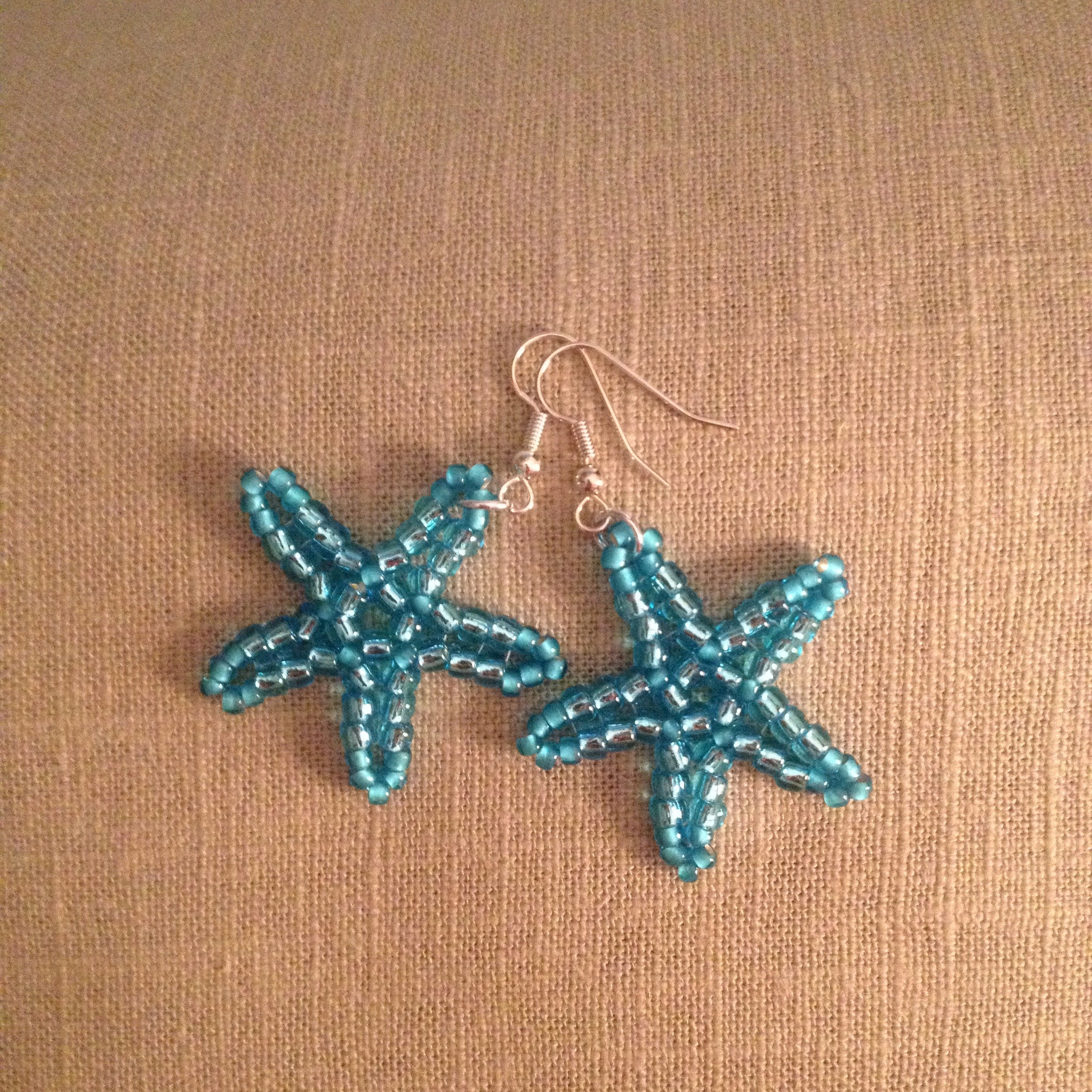 Starfish Beaded handmade earrings crystal blue resort cruise wear beachy fun style