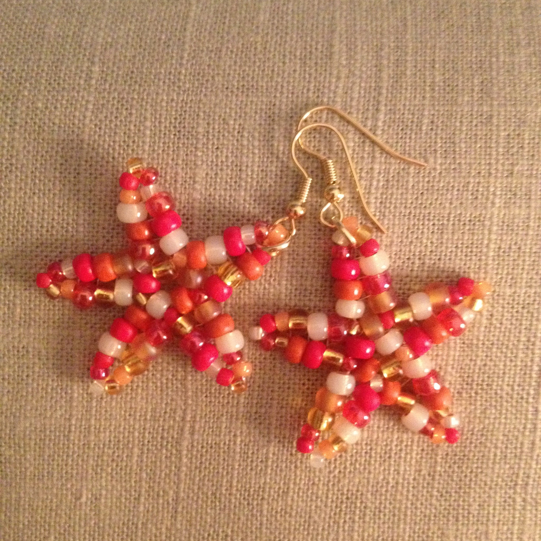 Starfish beaded handmade earrings resort cruise wear beachy fun style casual