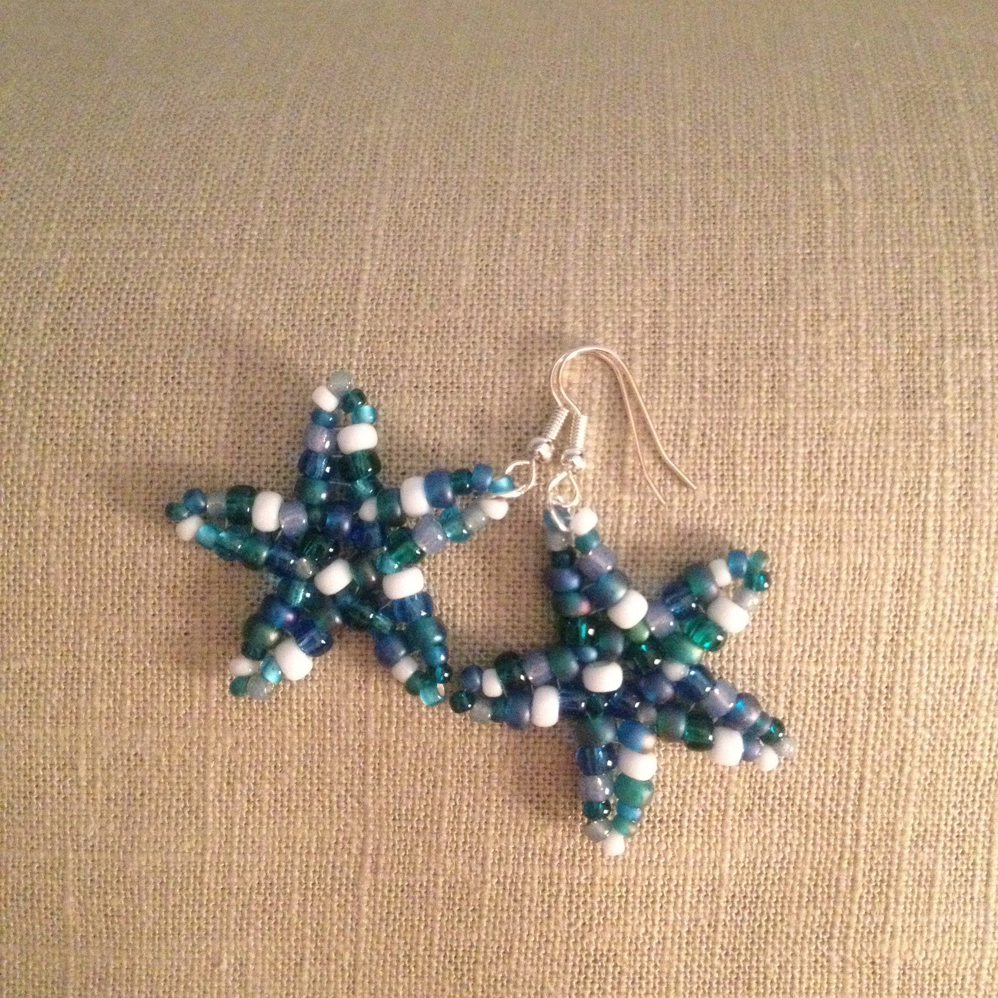 Starfish beaded handmade earrings ocean blue multi beachy fun resort cruise wear