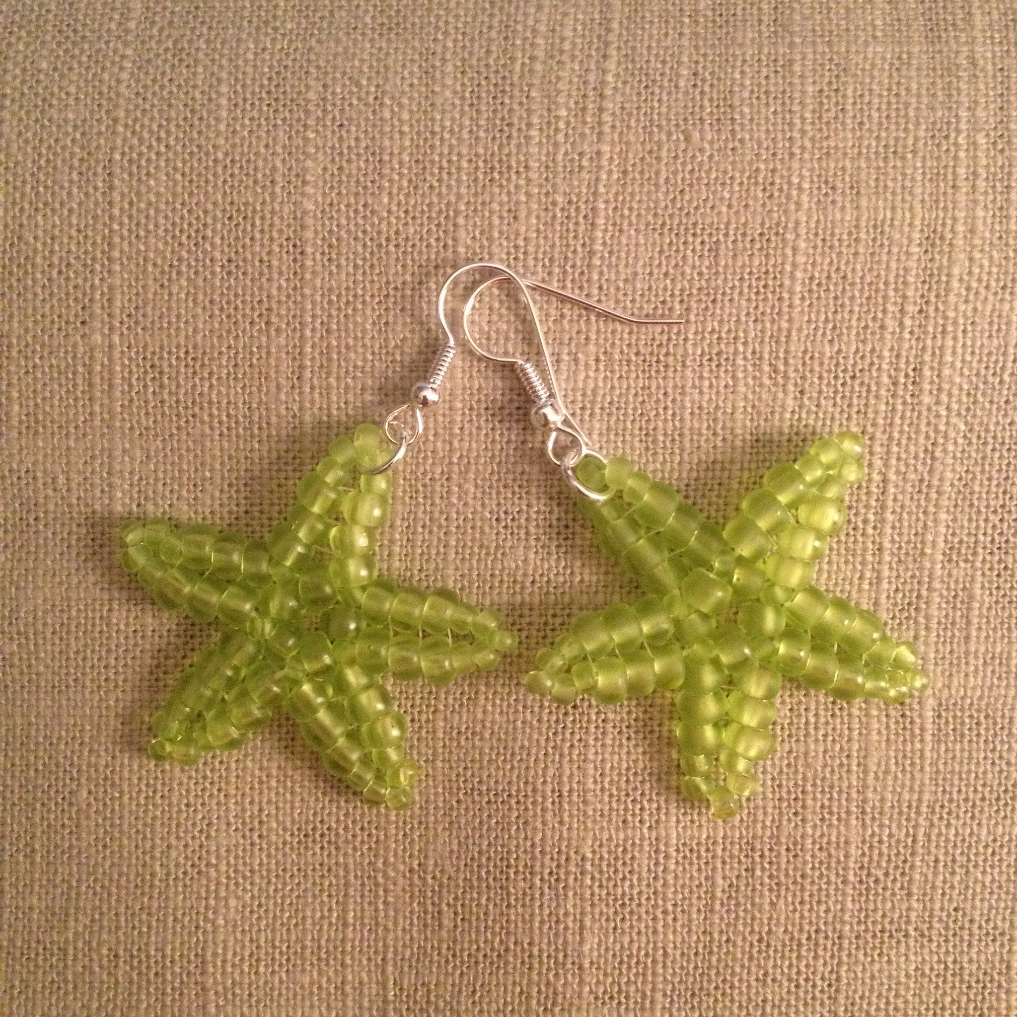 Starfish beaded earrings Lime handmade beachy fun