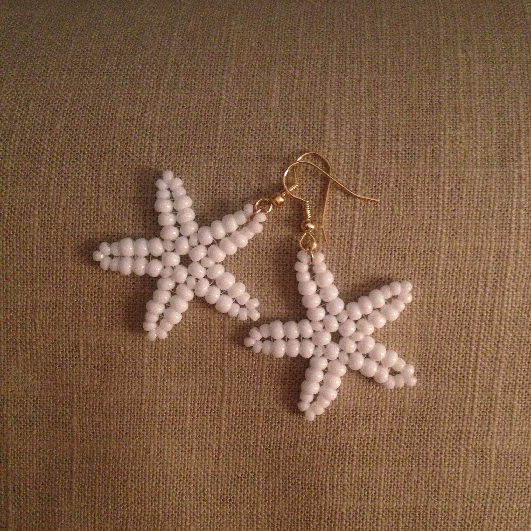 Starfish beaded handmade earrings white resort style cruise wear beachy fun