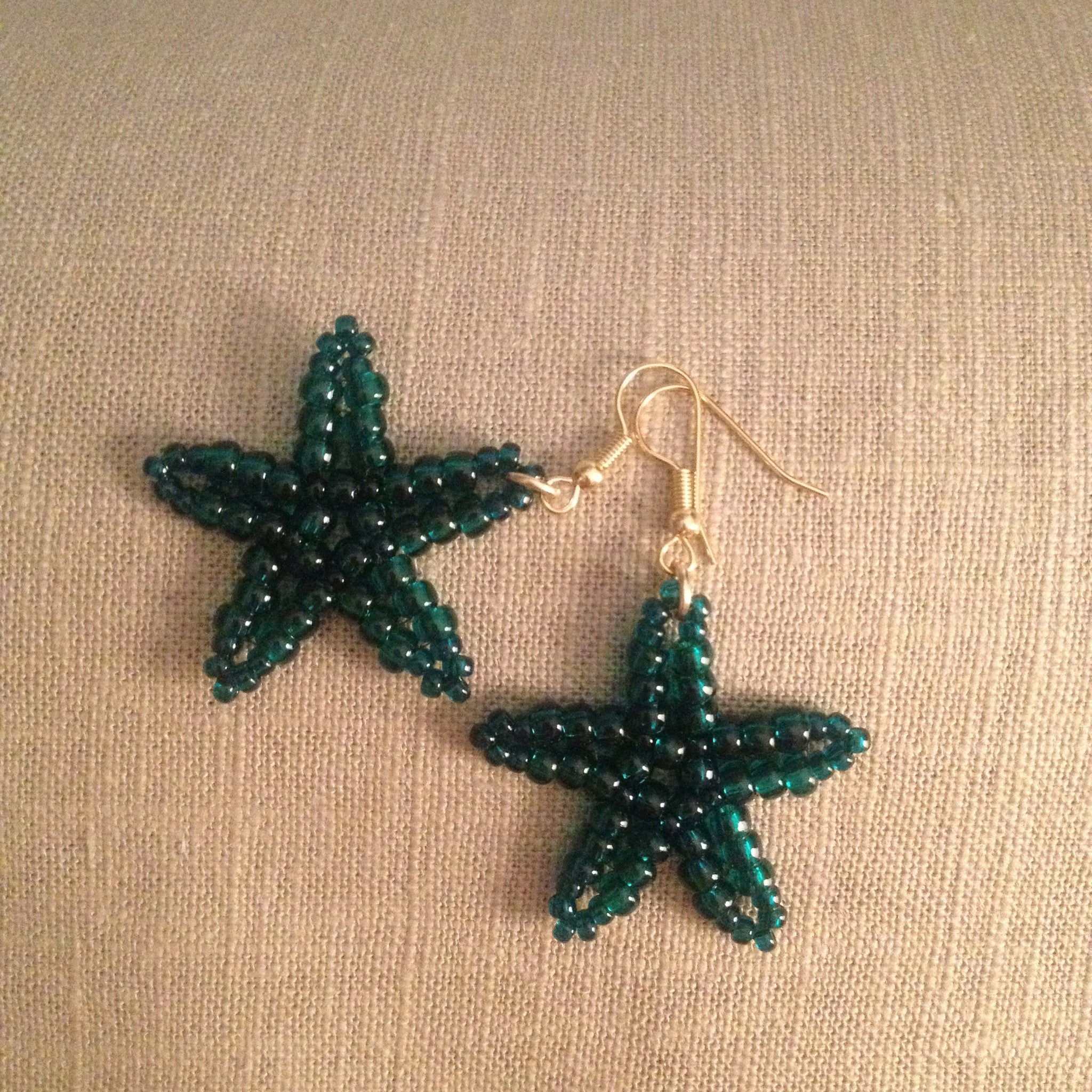 Starfish beaded handmade earriings clear emerald color beachy resort cruise wear style fun