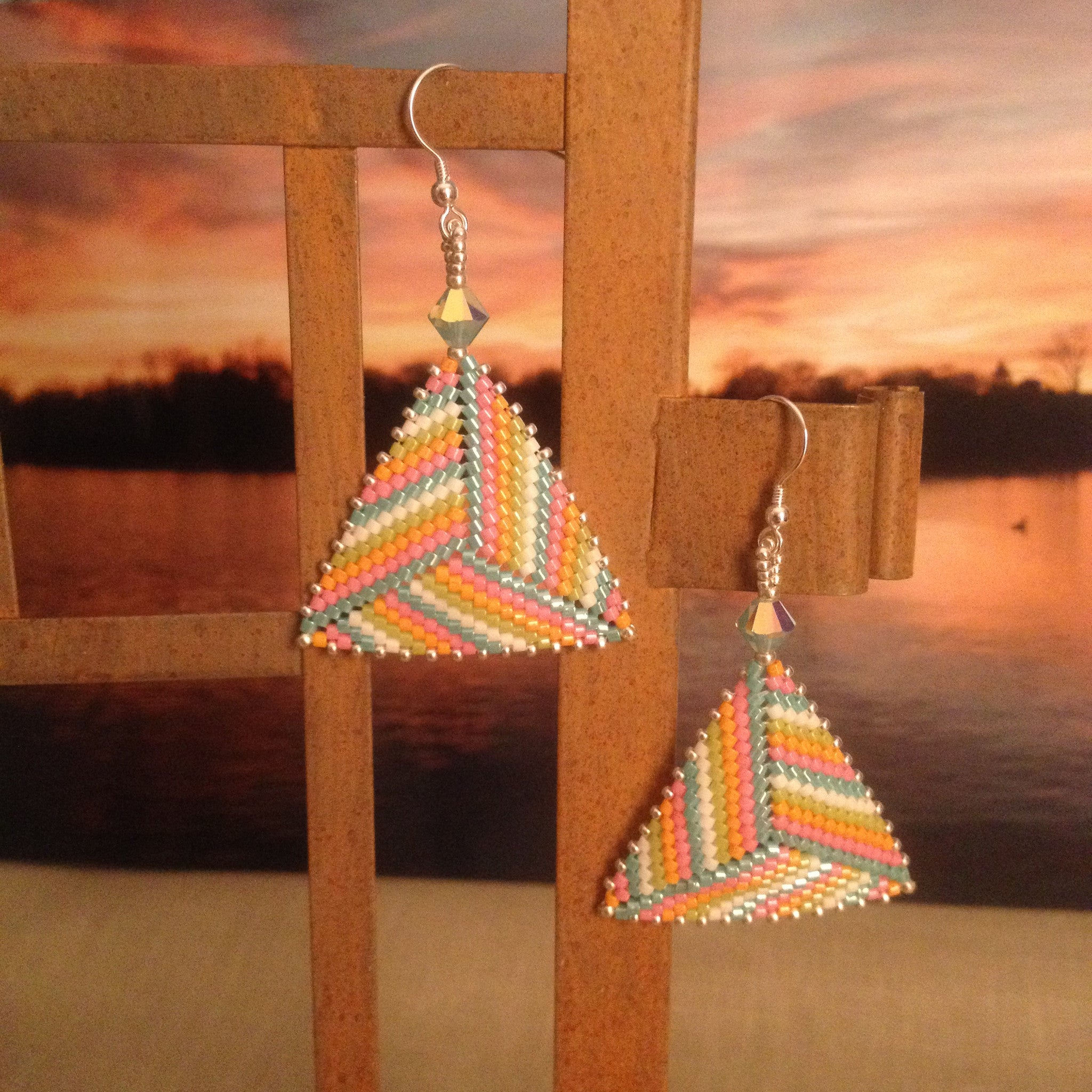 Handmade beaded earrings modern triangle pink purple blue white Swarovski crystals
