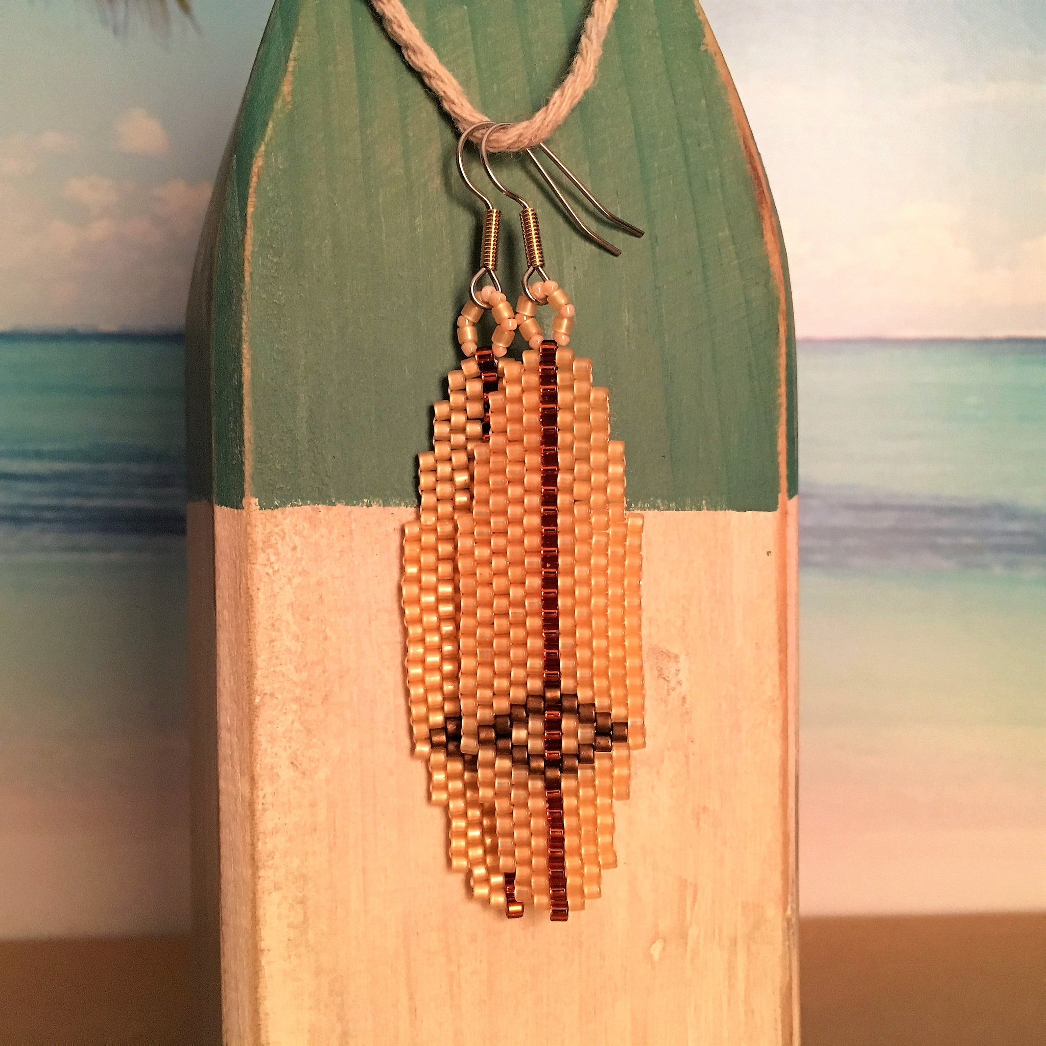 Surfboard Beaded earrings classic longboard Hobie beachy surf style ocean Beaded By The Beach