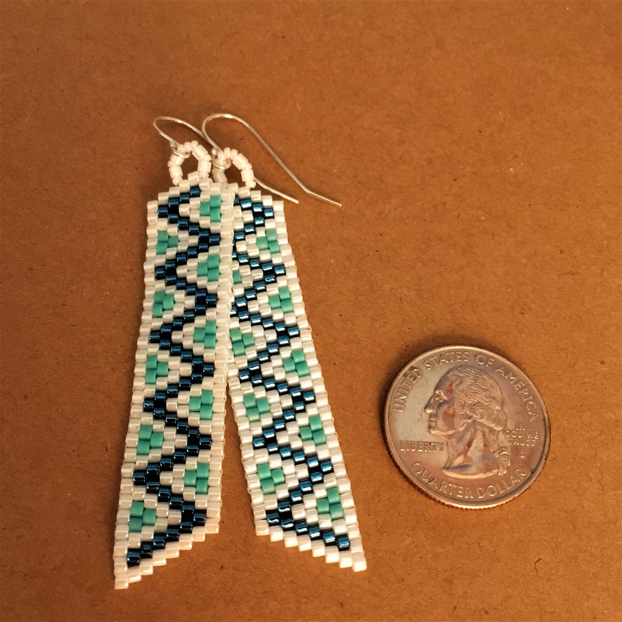 Long White and Turquoise Blue Peyote Earrings