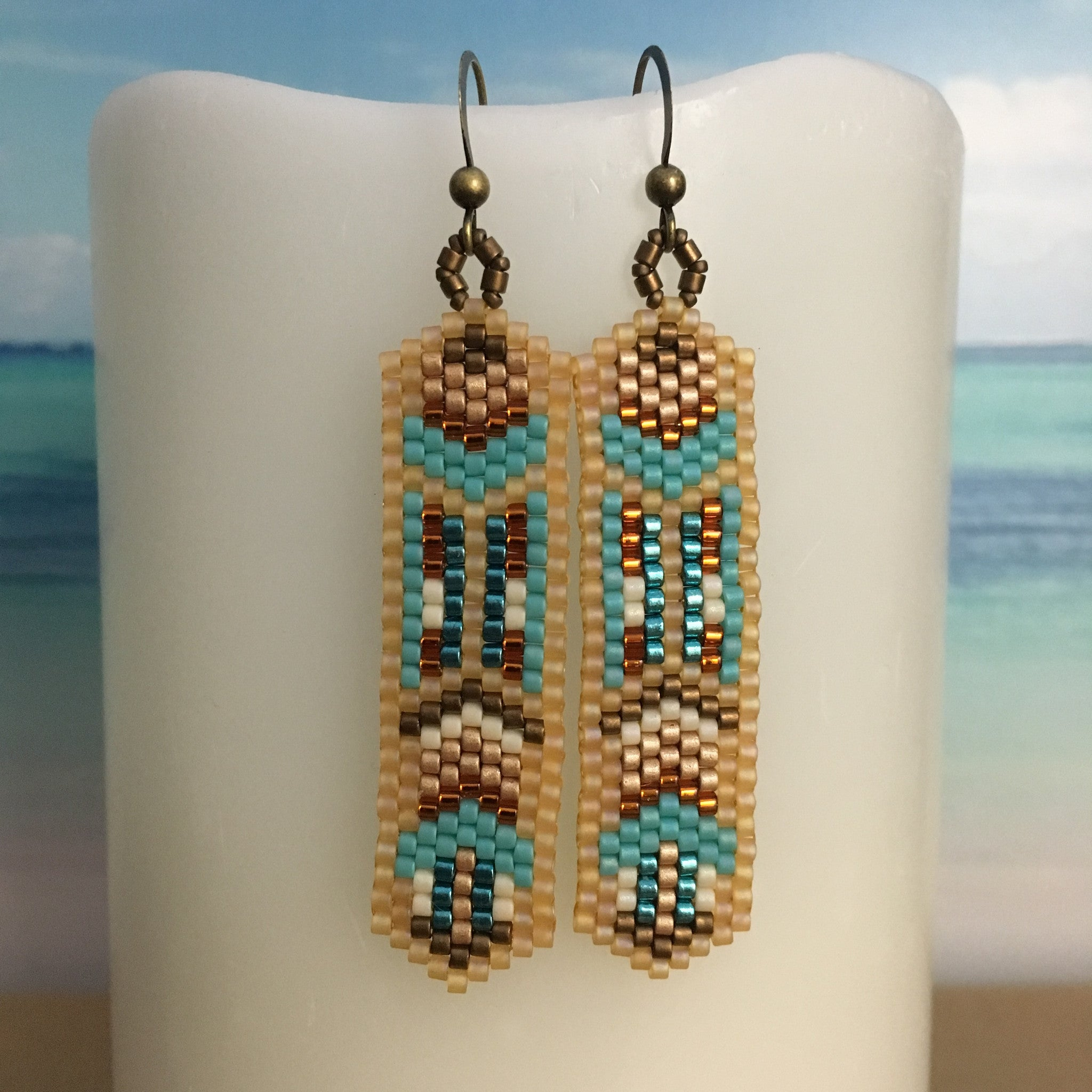 Boho Turquoise and Tan Summer Colors Earrings
