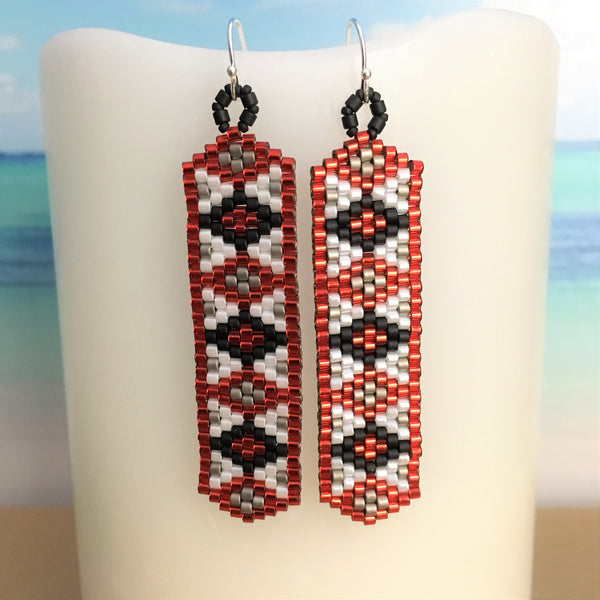 Rutgers Red Black White Earrings Argyle light weight New Jersey made