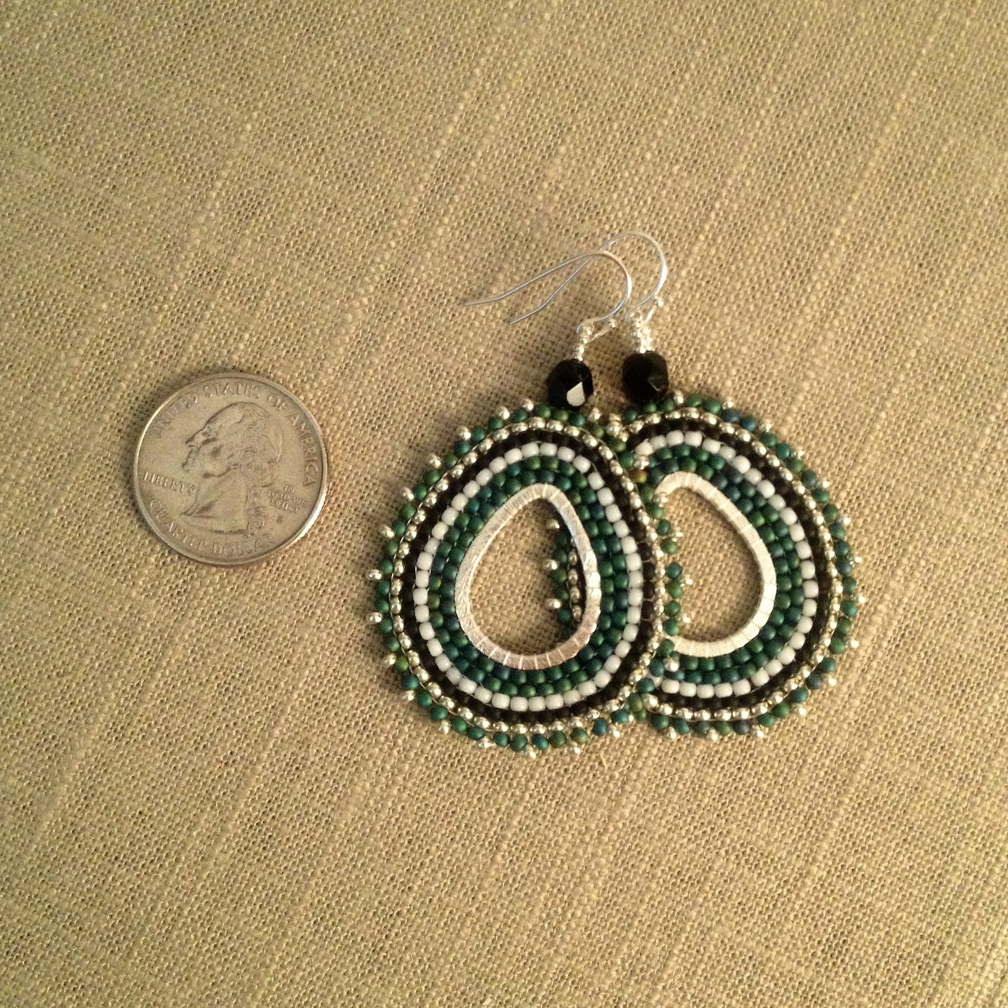 Green Black White and Silver Beaded Oval Hoop Sterling Silver Earrings