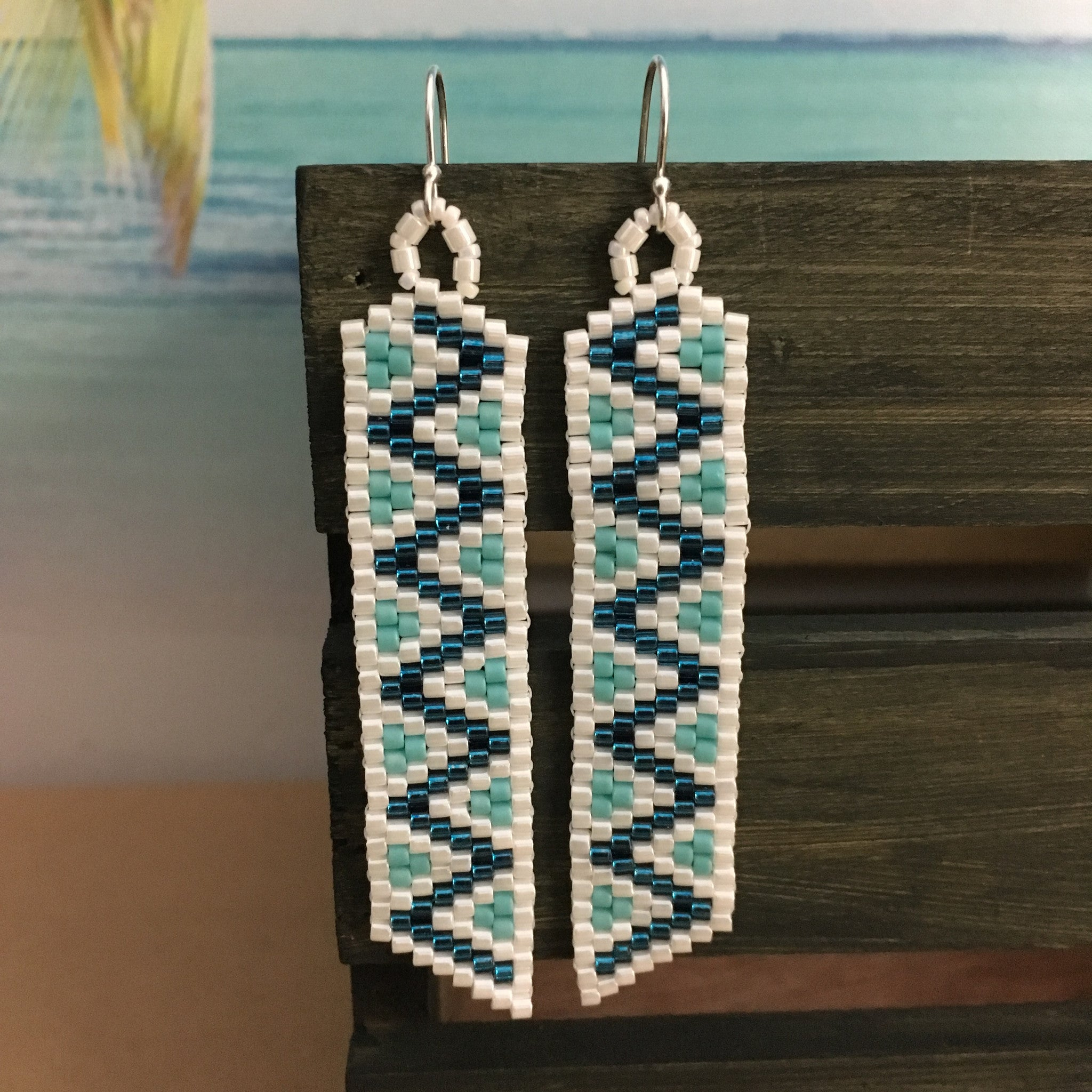 Beaded by the Beach zig zag fun ocean lightweight long earrings white electric blue fun design sterling silver French hook ear wires denim casual vibe