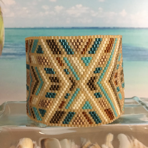 Boho Sundance Native style tan turquoise handmade beaded bracelet peyote wide original design beaded by the beach casual