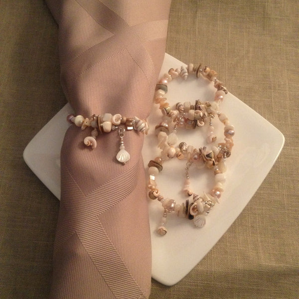 Napkin Rings in Natural Seashells