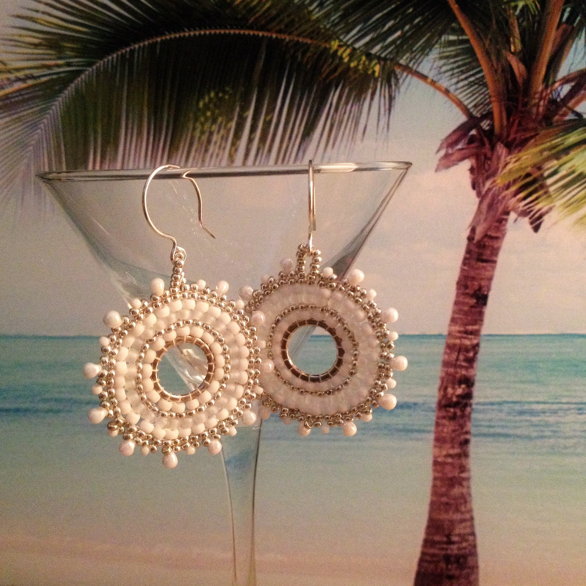 White and silver beaded Beachy Bridal handmade earrings in casual sunburst design customizable Beaded By The Beach  prom resort style
