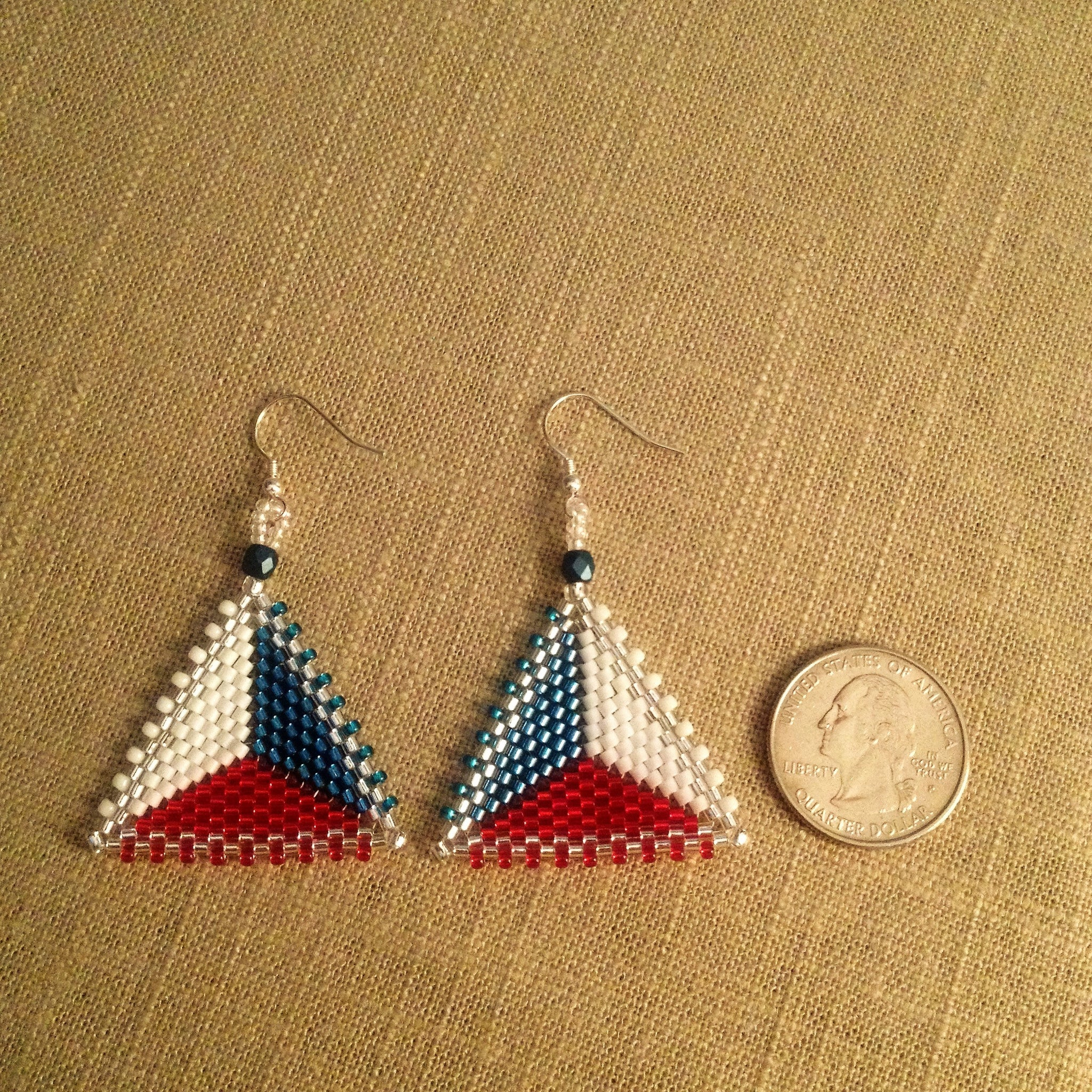 Red White Blue and Silver Shimmery Peyote Triangle Earrings