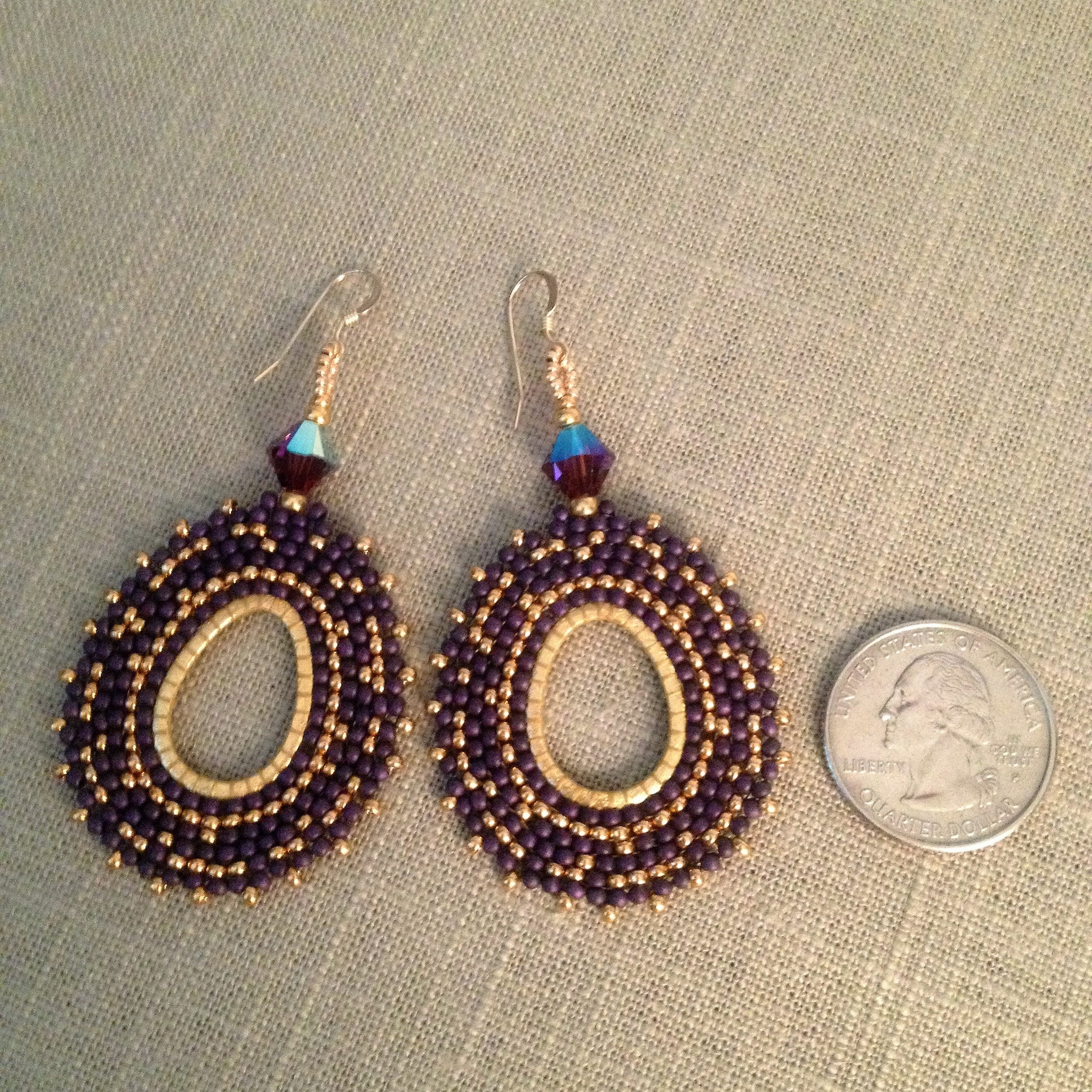 Purple and Gold Oval Beaded Earrings with Swarovski™ Crystals